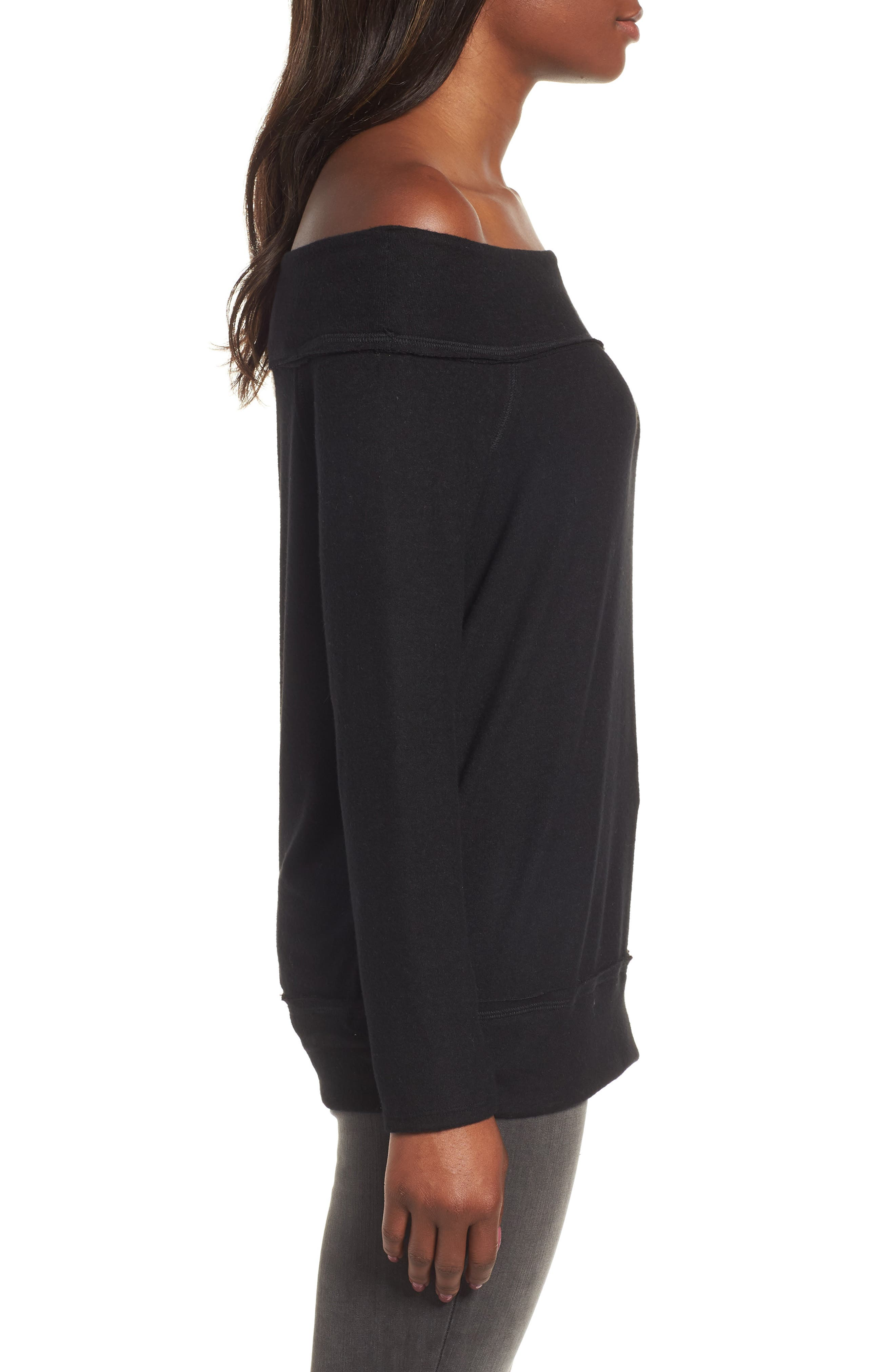 GIBSON, x Living in Yellow Mary Fleece Off the Shoulder Top, Alternate thumbnail 3, color, BLACK