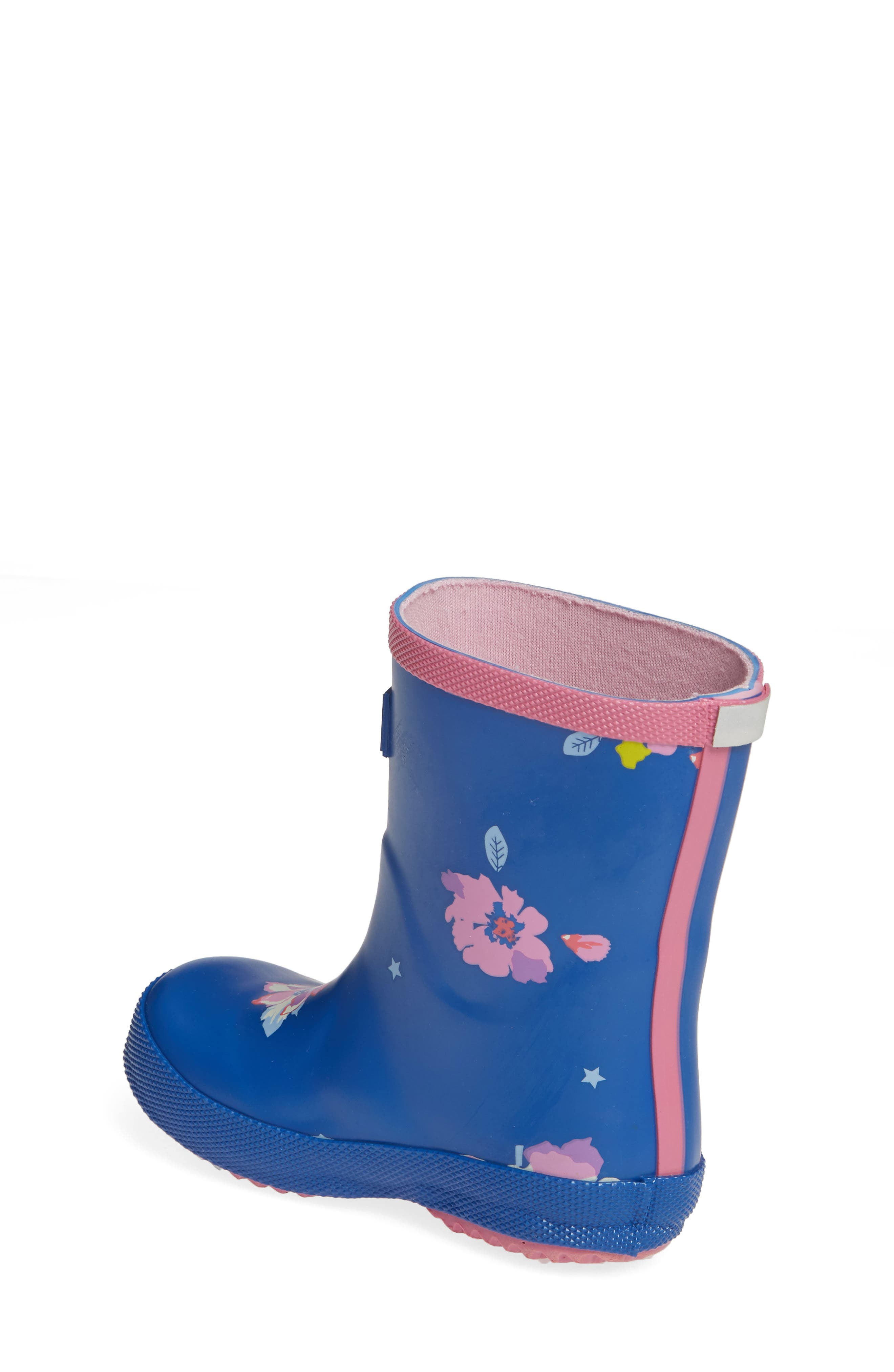 JOULES, Print Waterproof Rain Boot, Alternate thumbnail 2, color, BLUE CONFETTI FLORAL