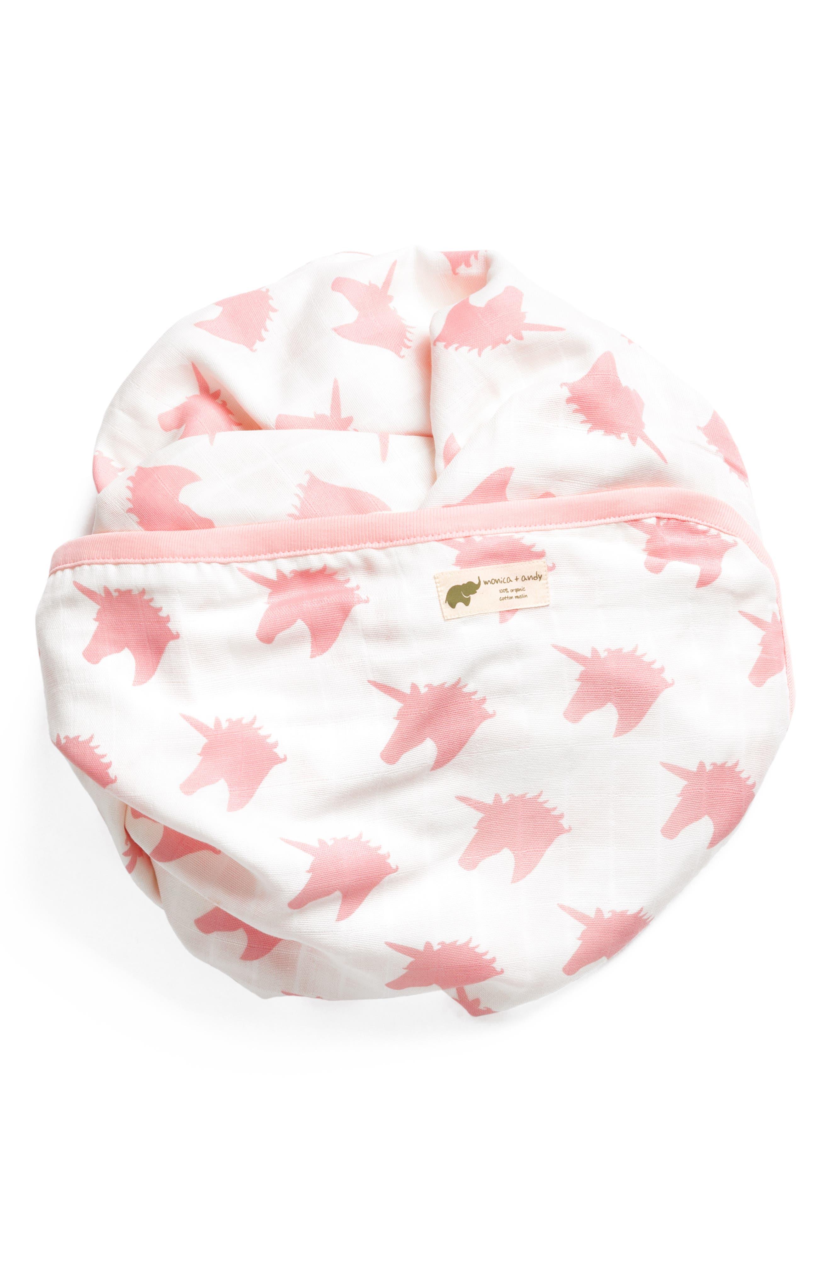 MONICA + ANDY, Believe in Unicorns Organic Cotton Always Blanket, Main thumbnail 1, color, BELIEVE IN UNICORNS