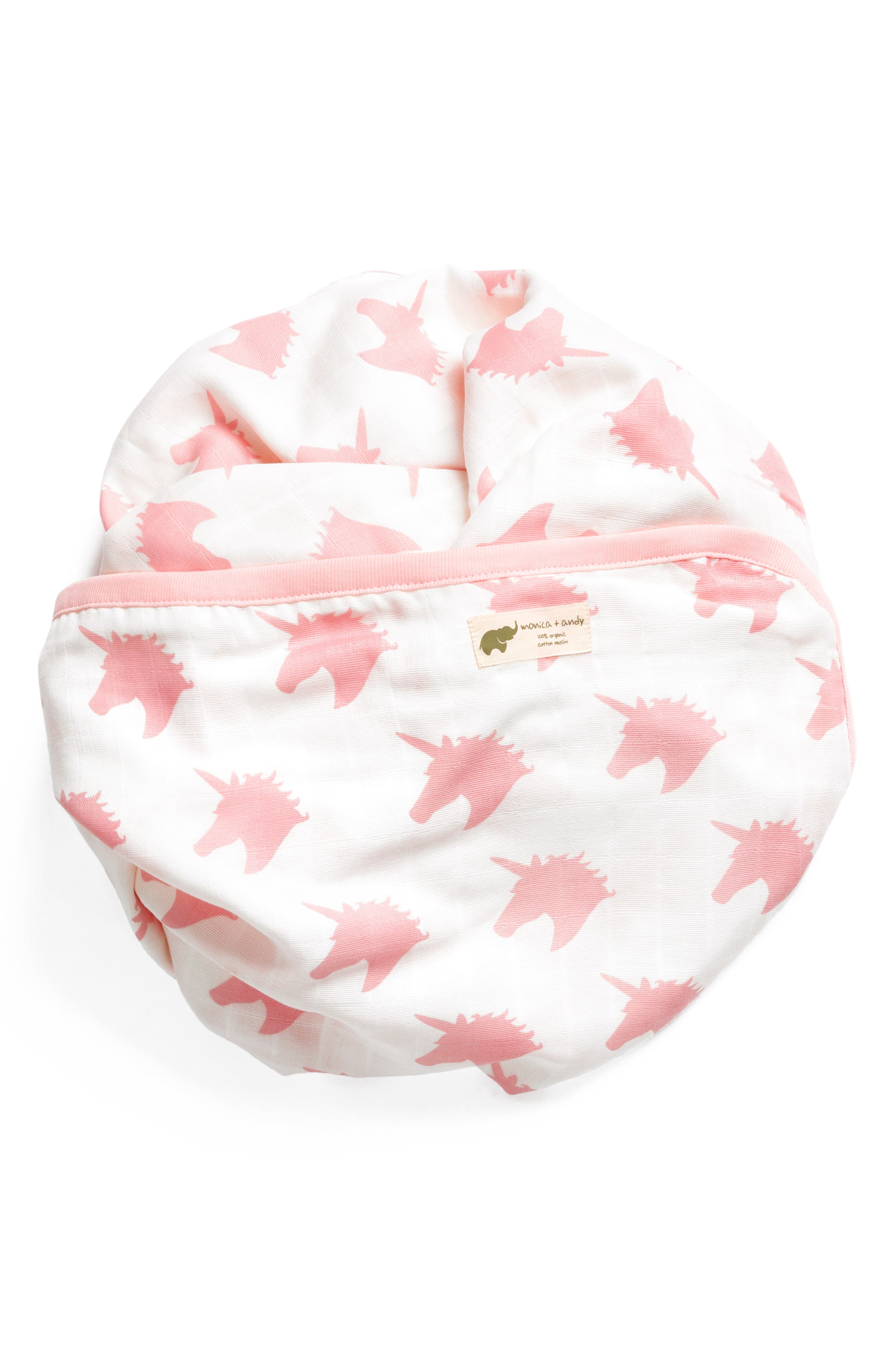 MONICA + ANDY Believe in Unicorns Organic Cotton Always Blanket, Main, color, BELIEVE IN UNICORNS