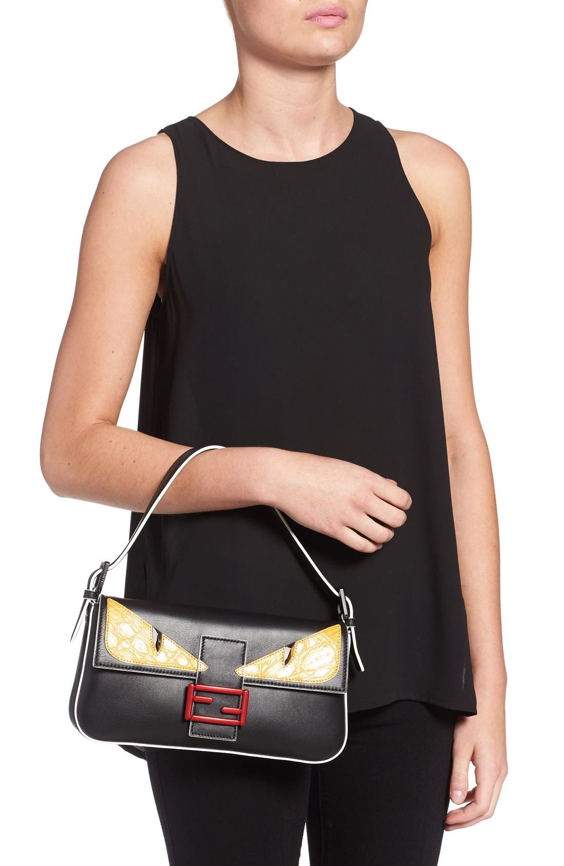 FENDI, 'Mini Monster' Leather Baguette, Alternate thumbnail 2, color, 001