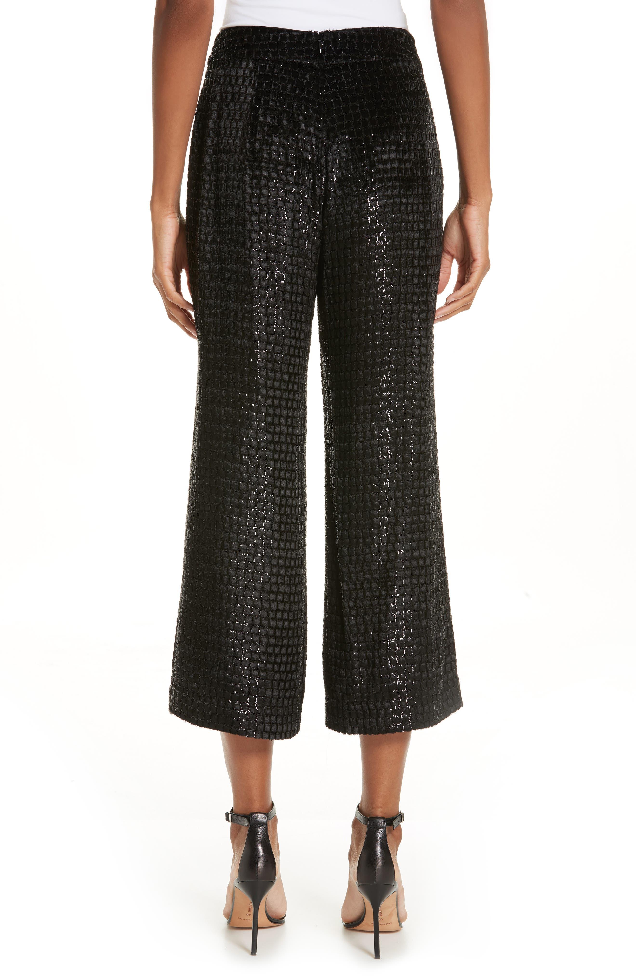 BRANDON MAXWELL, Metallic Velvet Crop Wide Leg Pants, Alternate thumbnail 2, color, BLACK