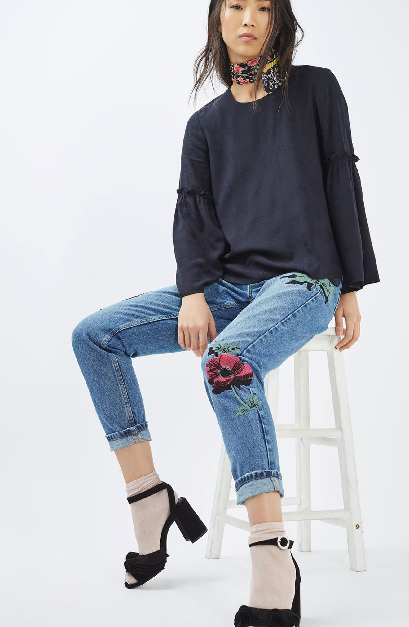 TOPSHOP, Floral Embroidered Mom Jeans, Alternate thumbnail 4, color, 400