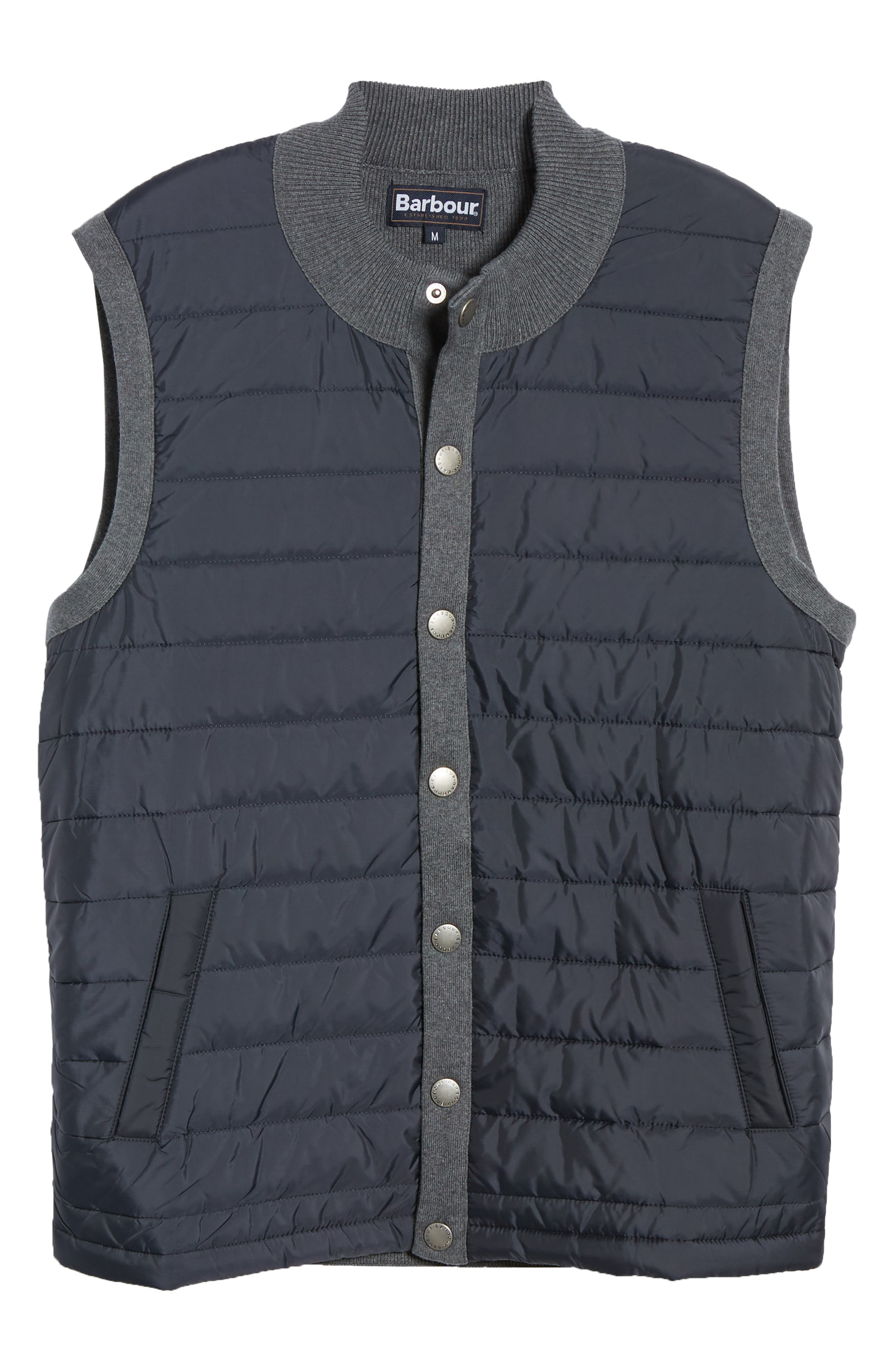 BARBOUR, 'Essential' Tailored Fit Mixed Media Vest, Alternate thumbnail 7, color, MID GREY