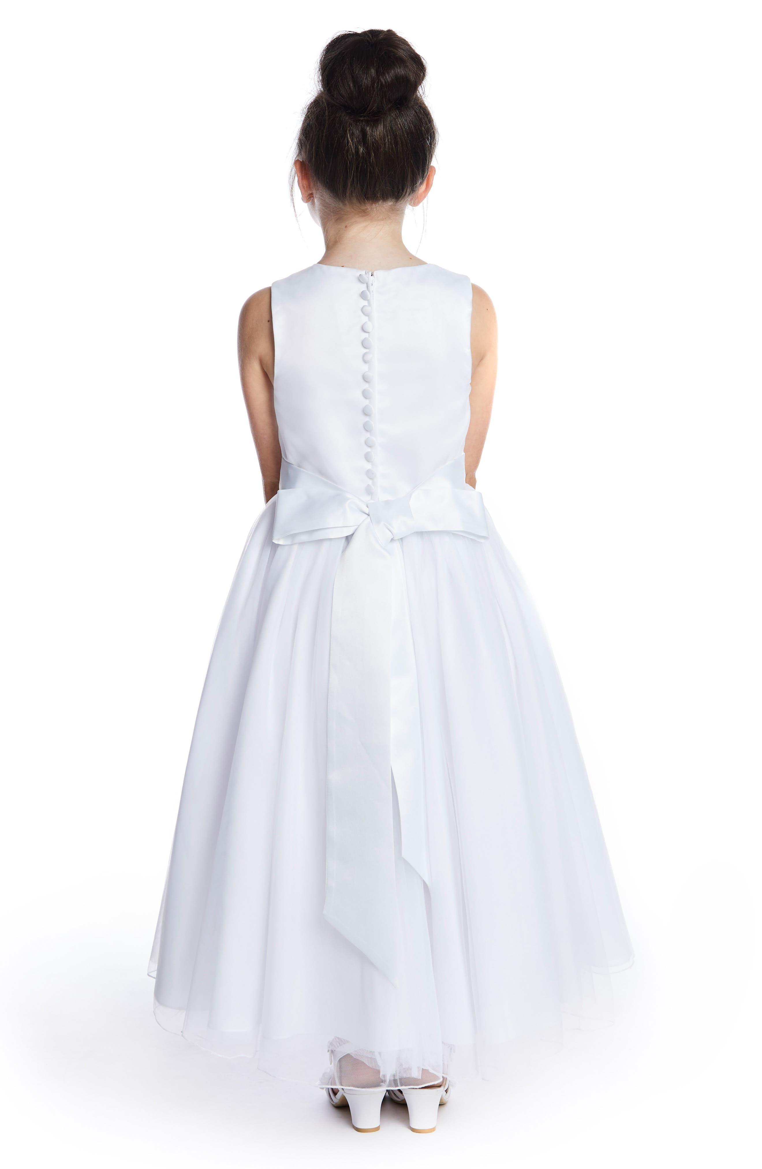 LAUREN MARIE, Beaded First Communion Dress, Alternate thumbnail 2, color, WHITE
