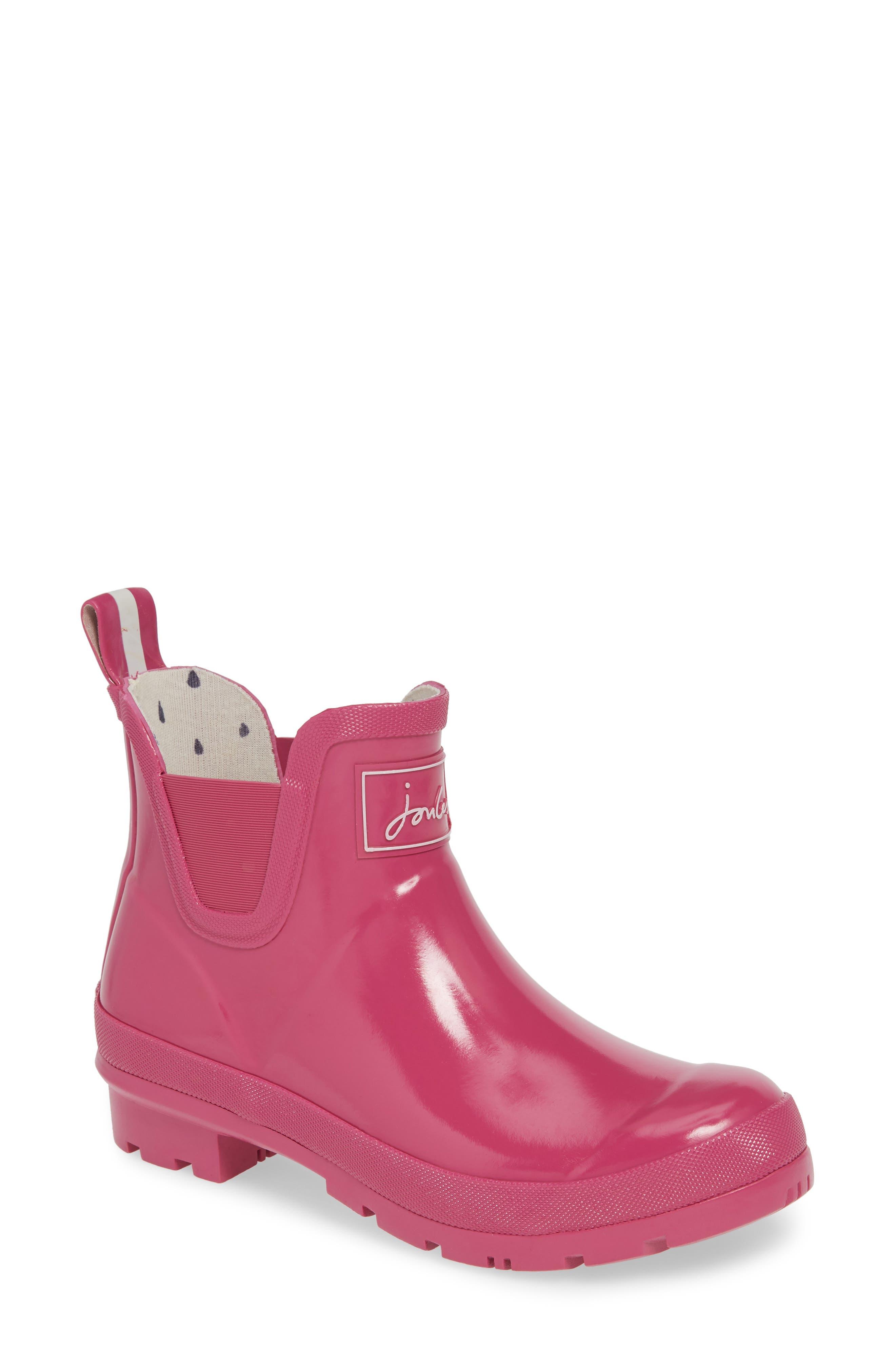 JOULES, Wellibob Short Rain Boot, Main thumbnail 1, color, PINK/ PINK