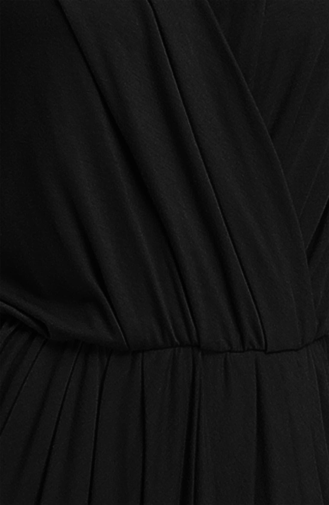 HALOGEN<SUP>®</SUP>, Faux Wrap Pleated Dress, Alternate thumbnail 2, color, 001