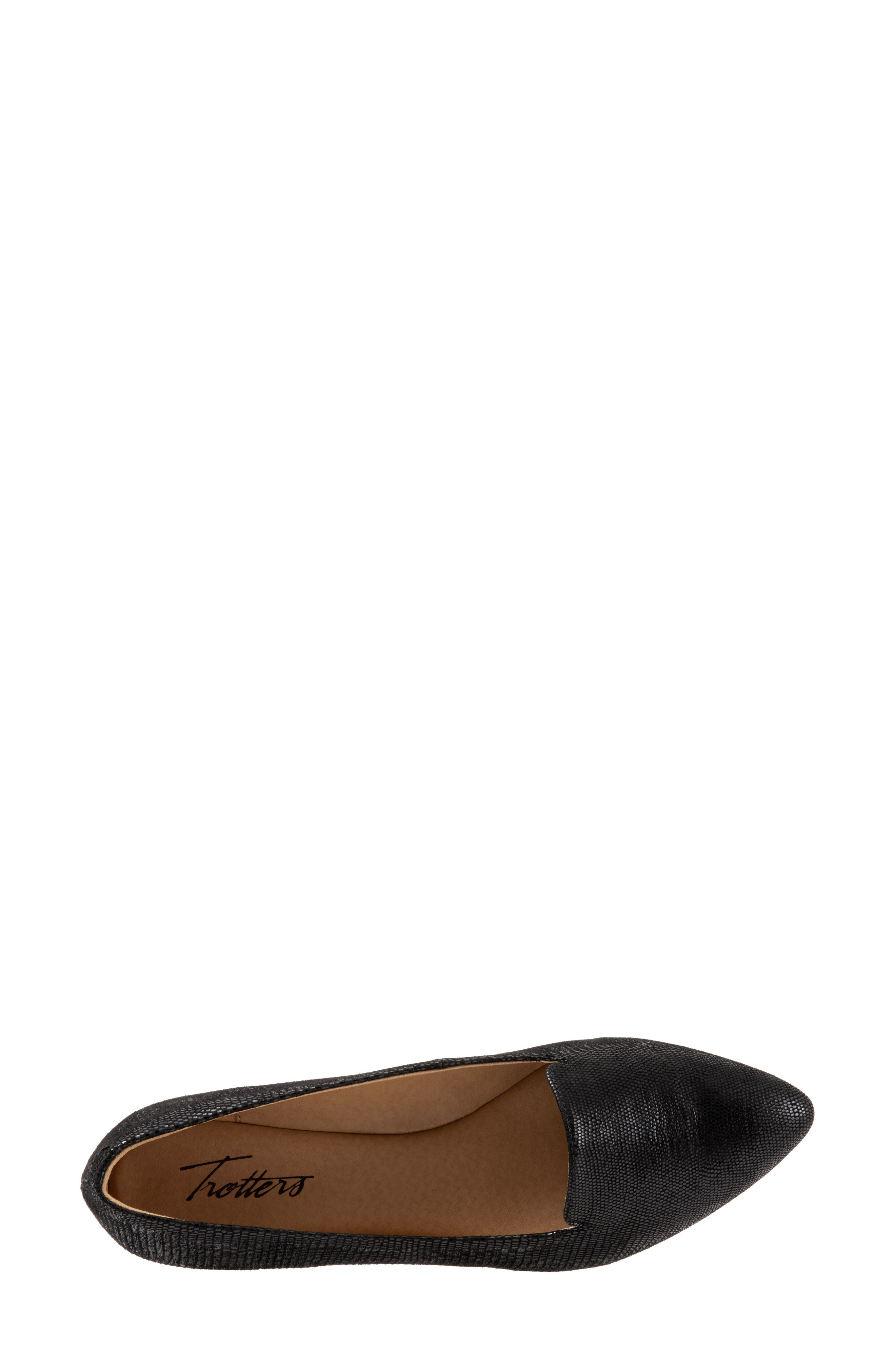 TROTTERS, Harlowe Pointy Toe Loafer, Alternate thumbnail 5, color, DARK BLACK LEATHER