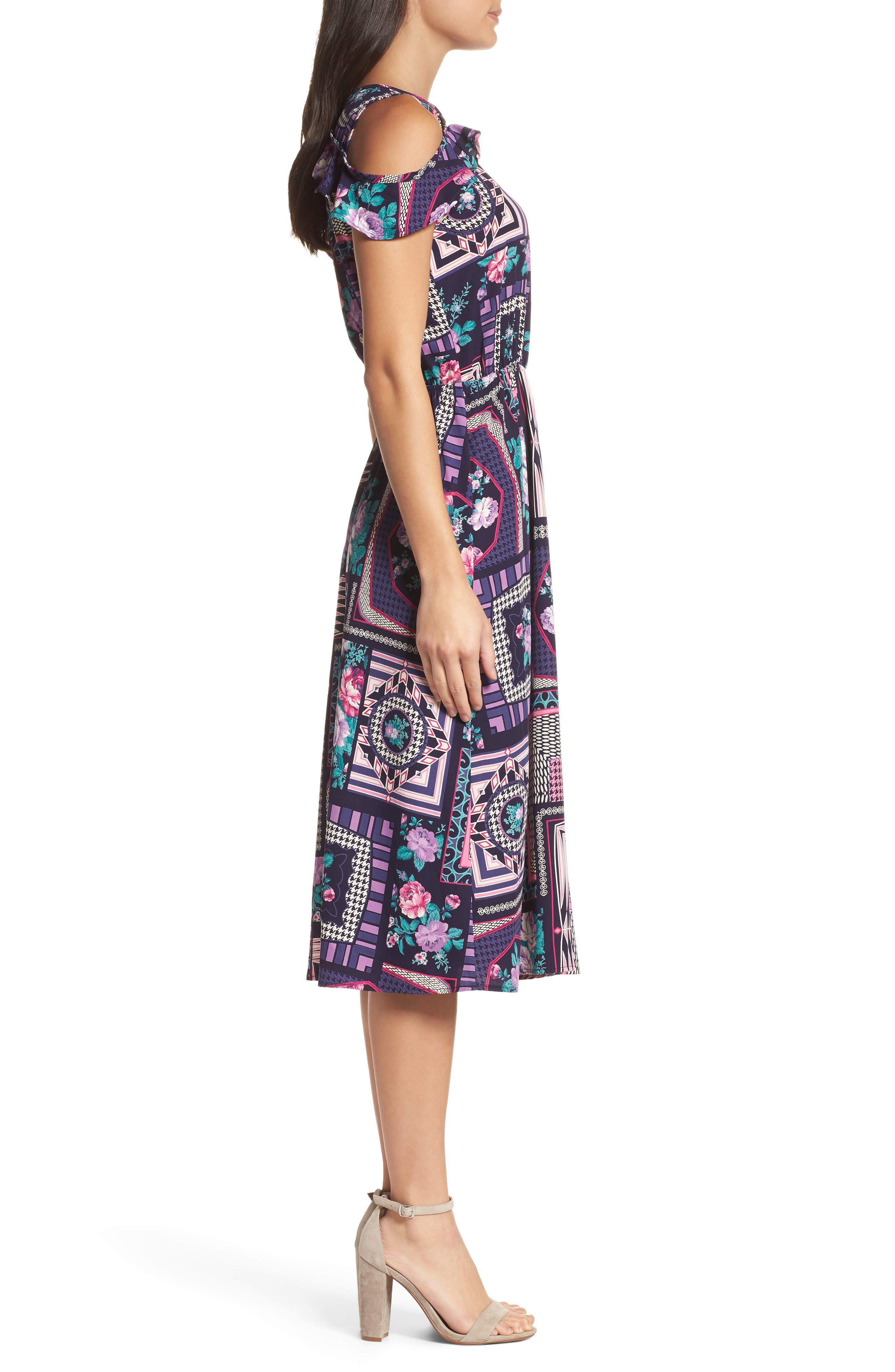 FRAICHE BY J, Ruffle Cold Shoulder Dress, Alternate thumbnail 3, color, CASSIE