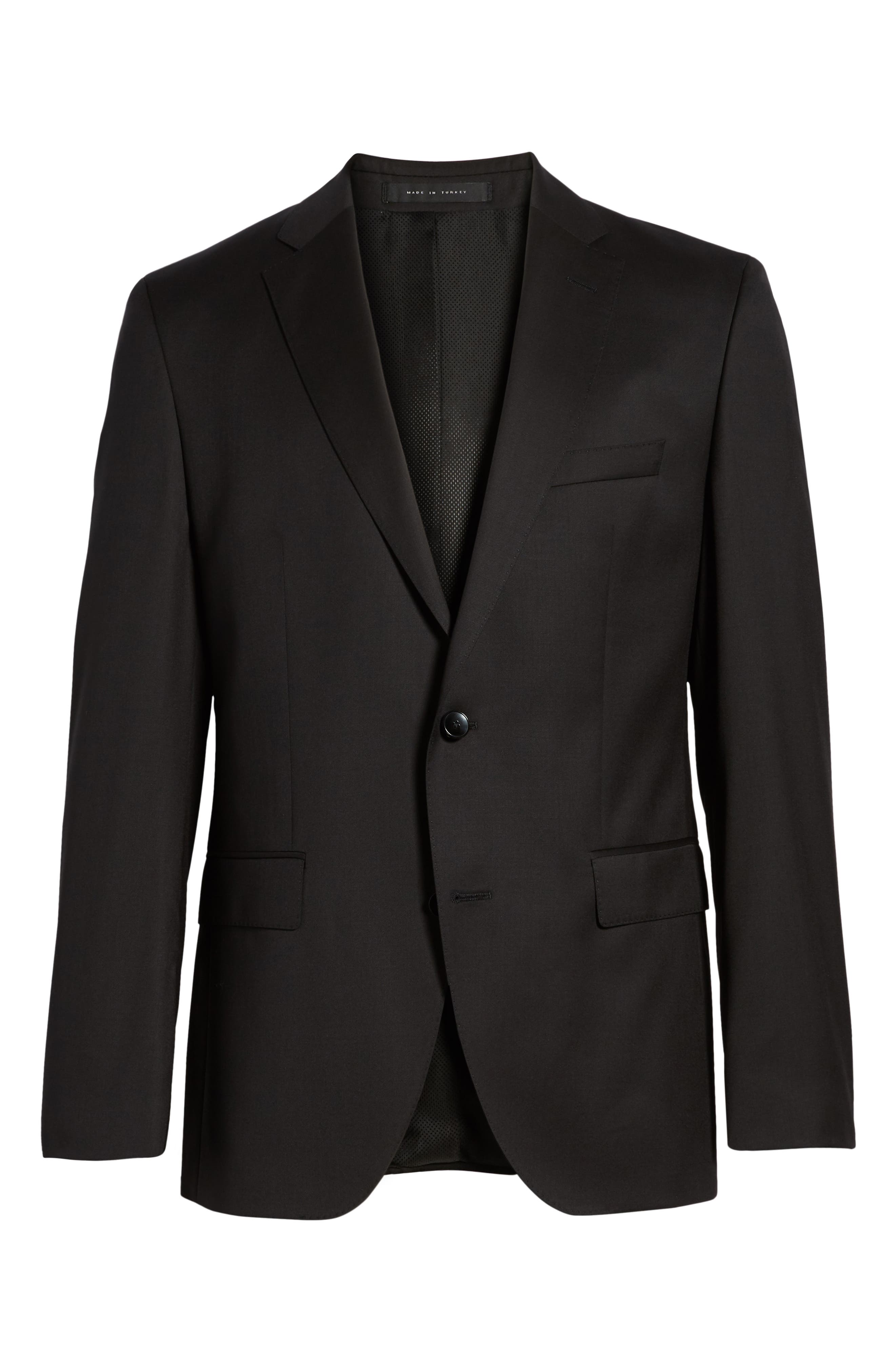 BOSS, Johnstons CYL Classic Fit Solid Wool Sport Coat, Alternate thumbnail 6, color, BLACK