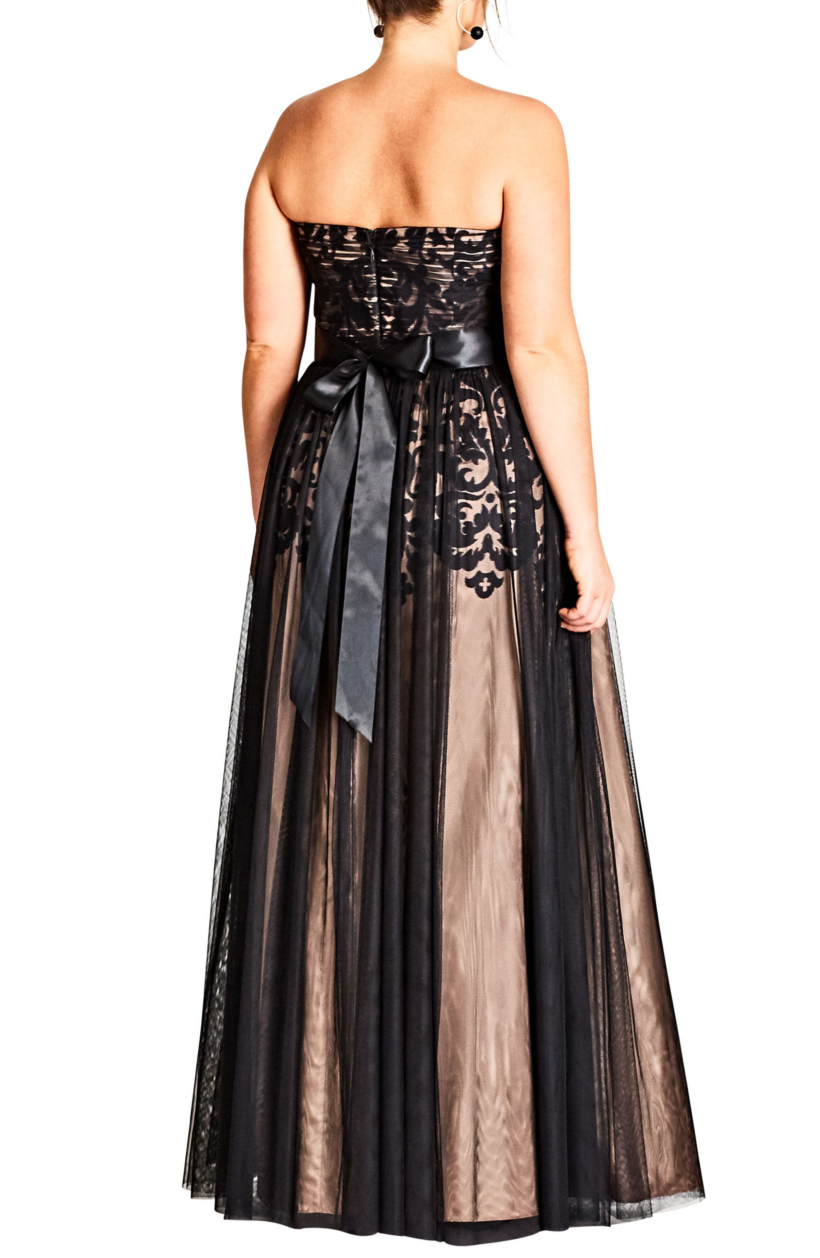 CITY CHIC, Embellished Tulle Strapless Ballgown, Alternate thumbnail 2, color, BLACK