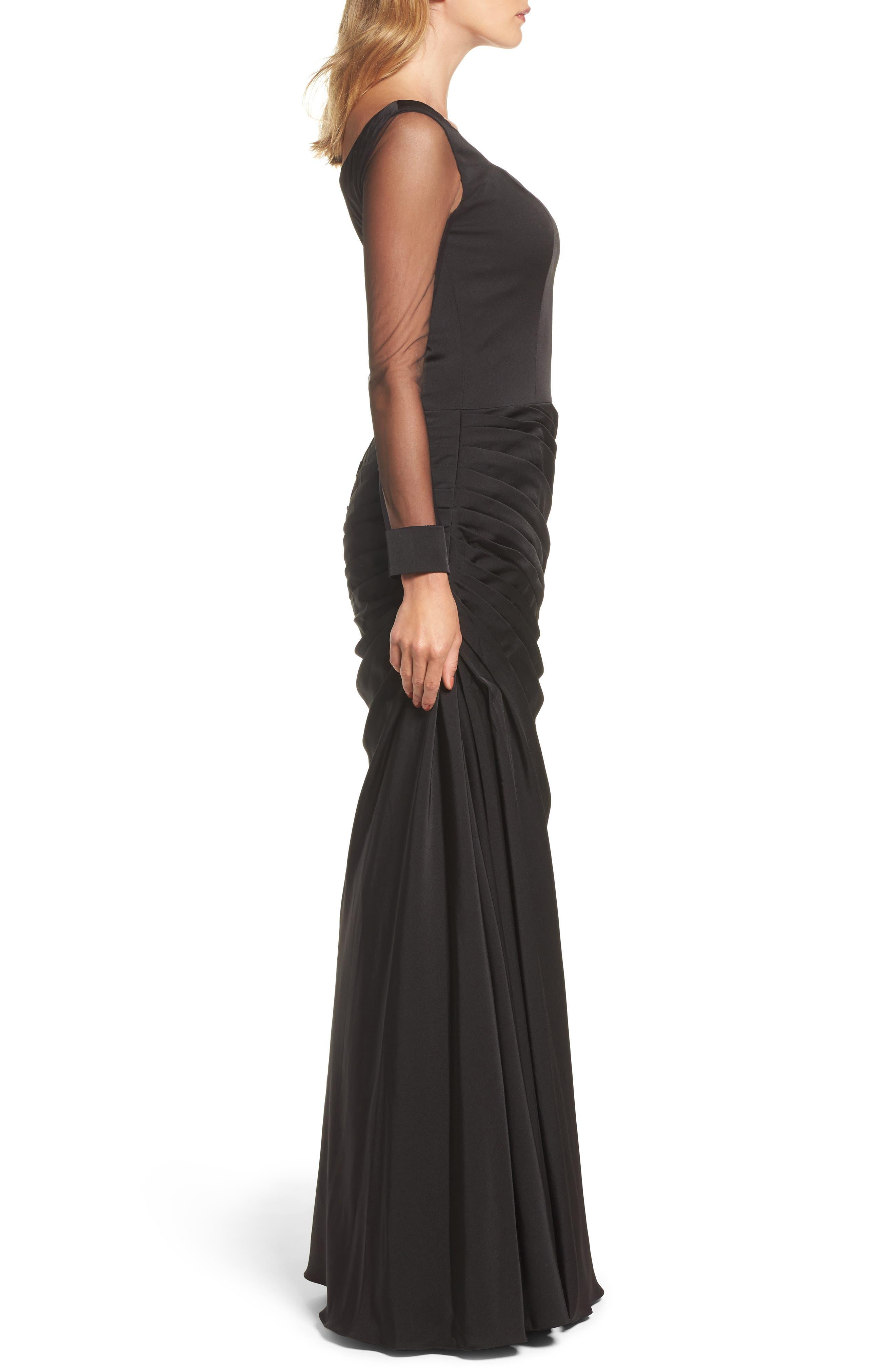 LA FEMME, Sheer Sleeve Gown, Alternate thumbnail 3, color, BLACK