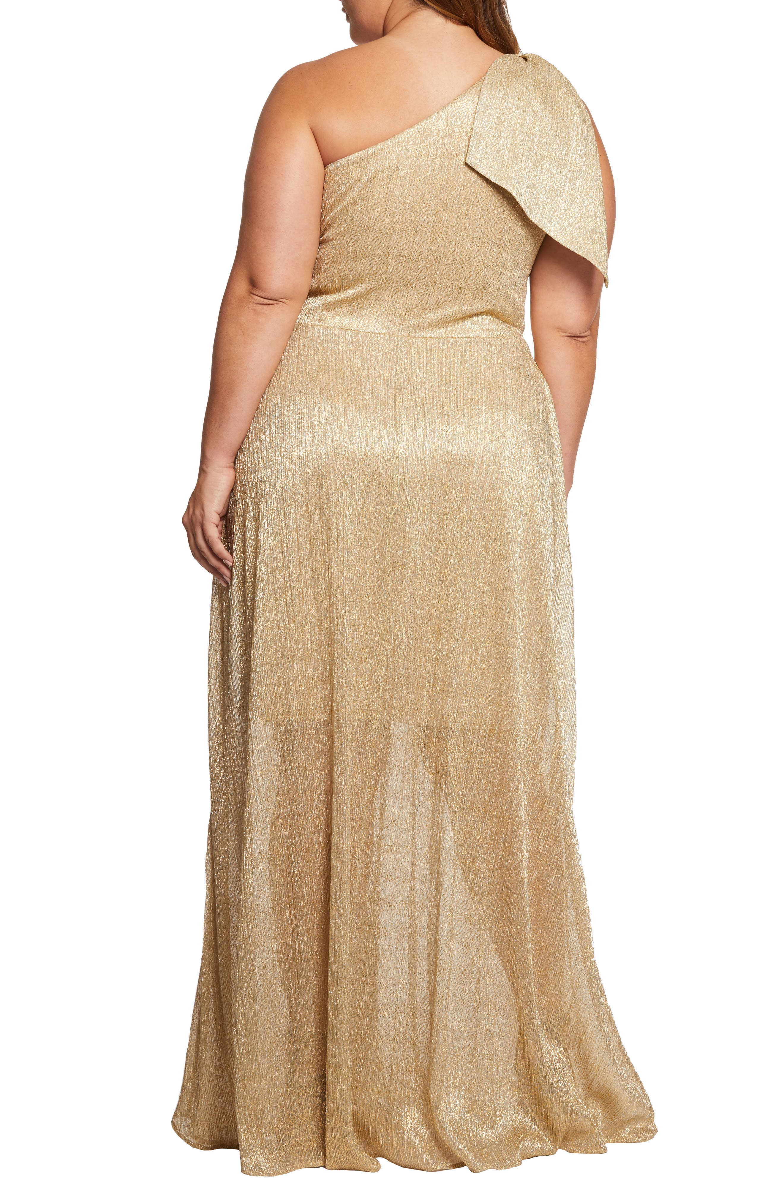 DRESS THE POPULATION, Savannah One-Shoulder Gown, Alternate thumbnail 2, color, GOLD