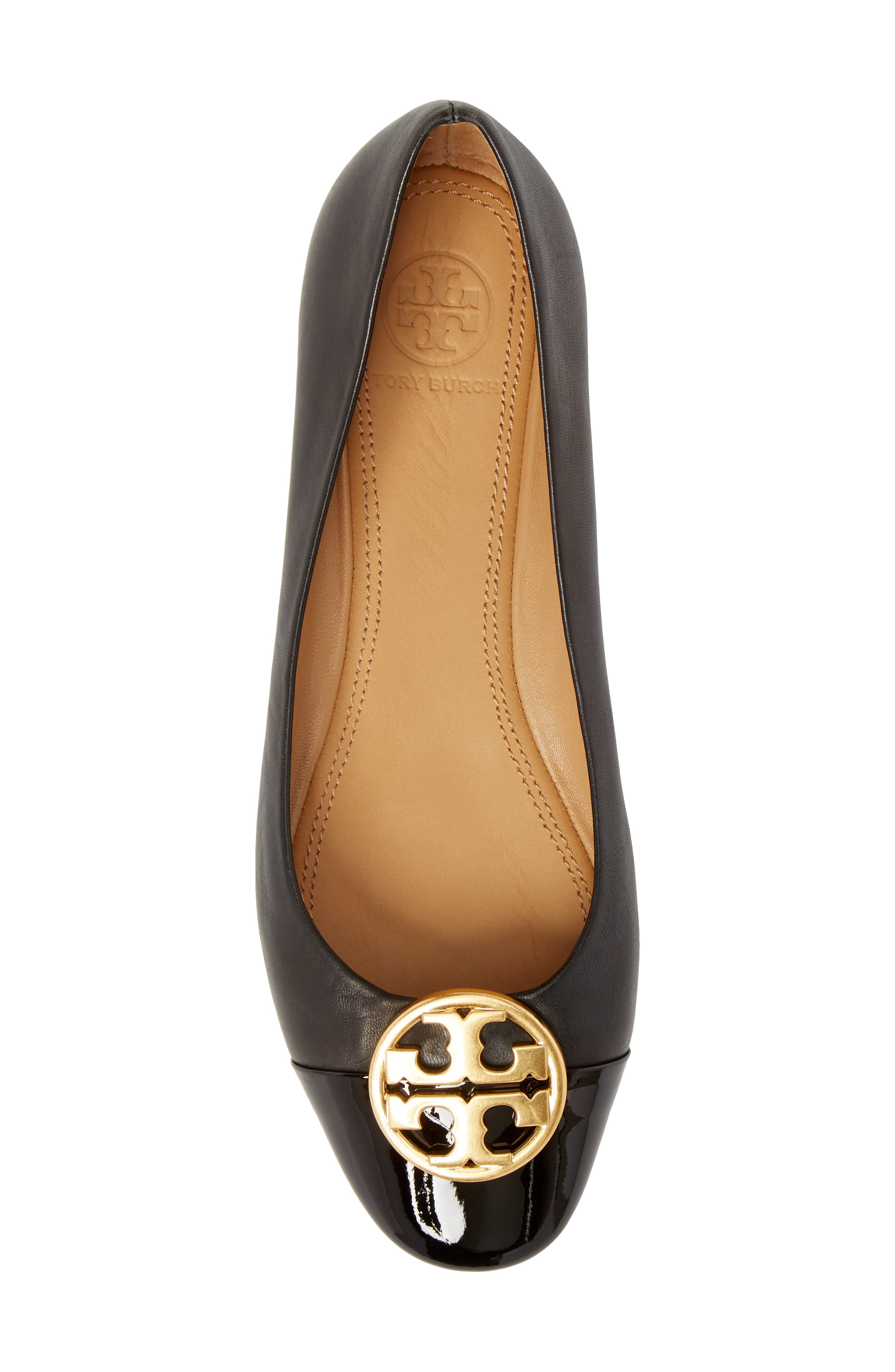 TORY BURCH, Chelsea Cap Toe Ballet Flat, Alternate thumbnail 5, color, BLACK