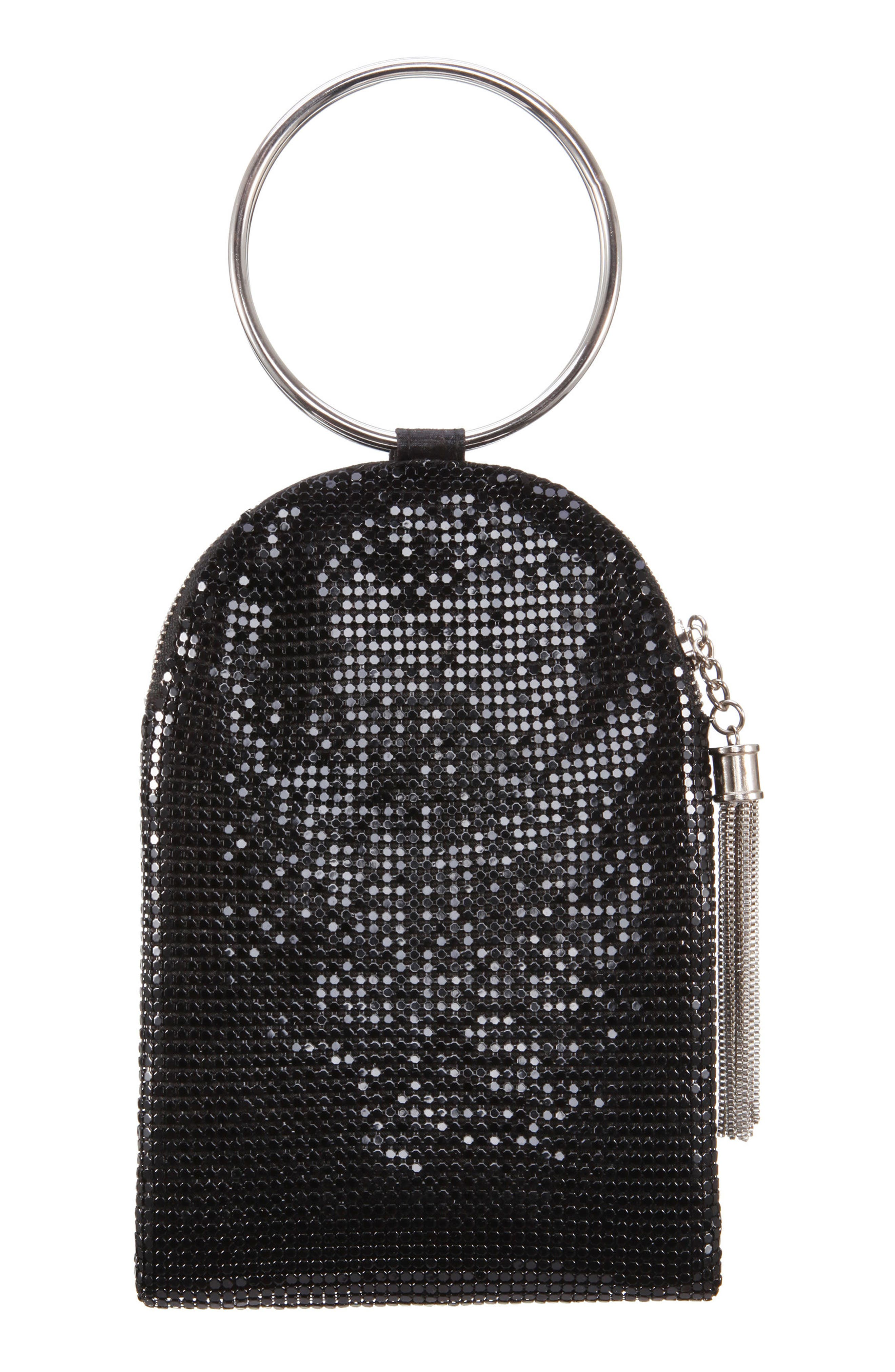 NINA Metallic Mesh Handbag, Main, color, BLACK