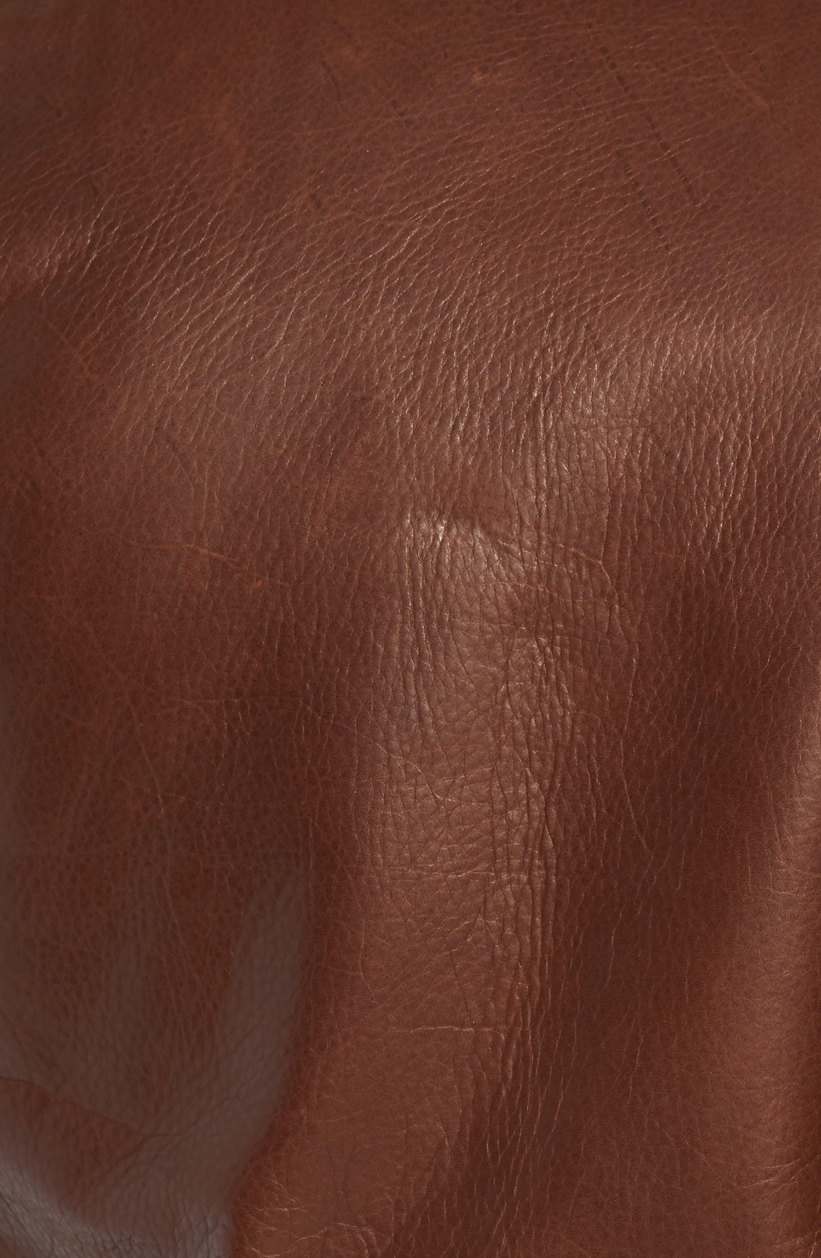 SCHOTT NYC, '50s Oil Tanned Cowhide Leather Moto Jacket, Alternate thumbnail 6, color, BROWN