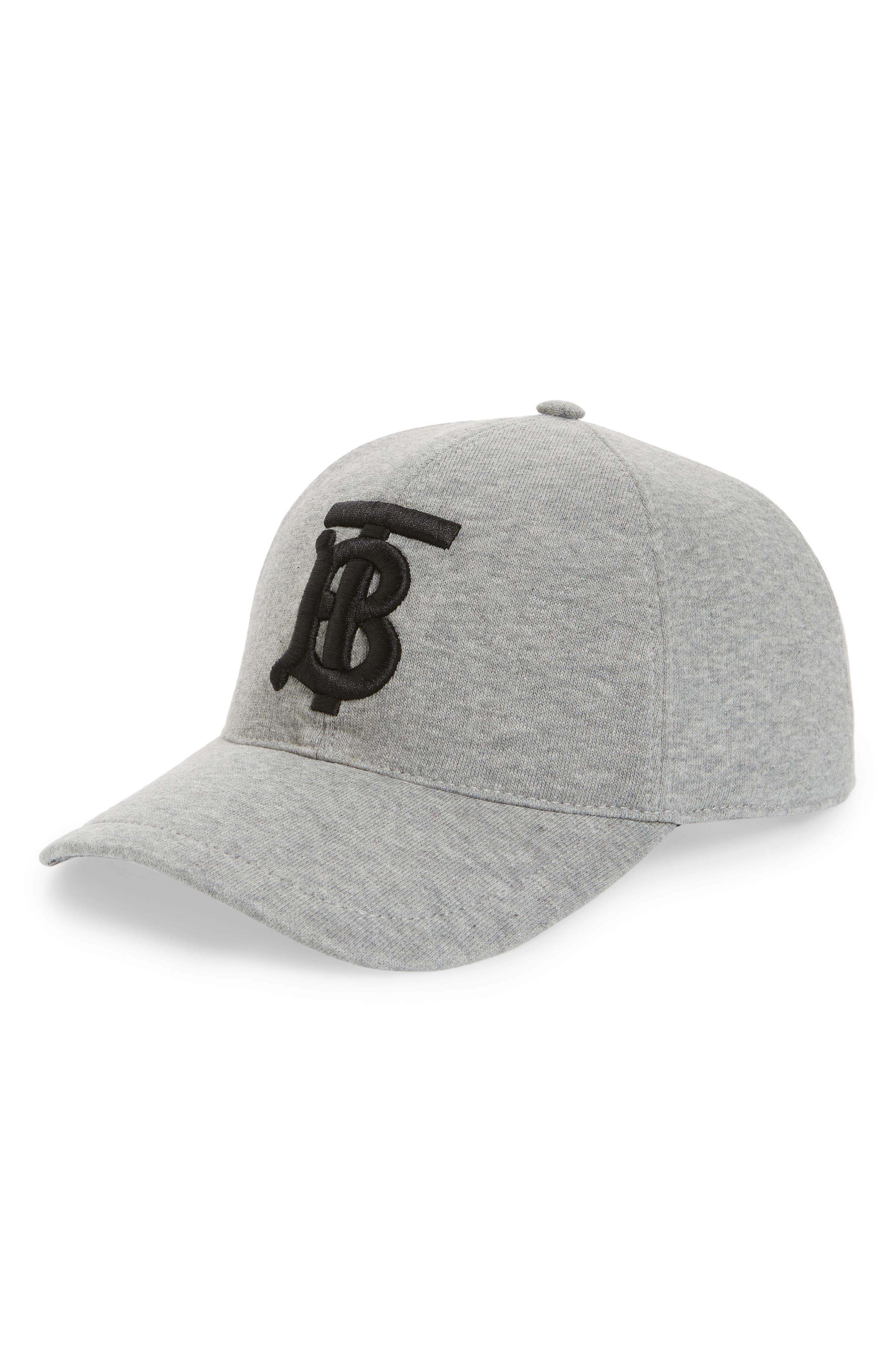 BURBERRY Jersey Baseball Cap, Main, color, LIGHT GREY MELANGE