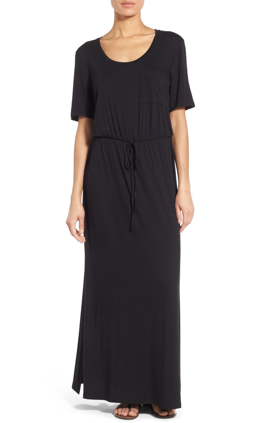 BOBEAU, Drawstring Waist Jersey Maxi Dress, Main thumbnail 1, color, 005