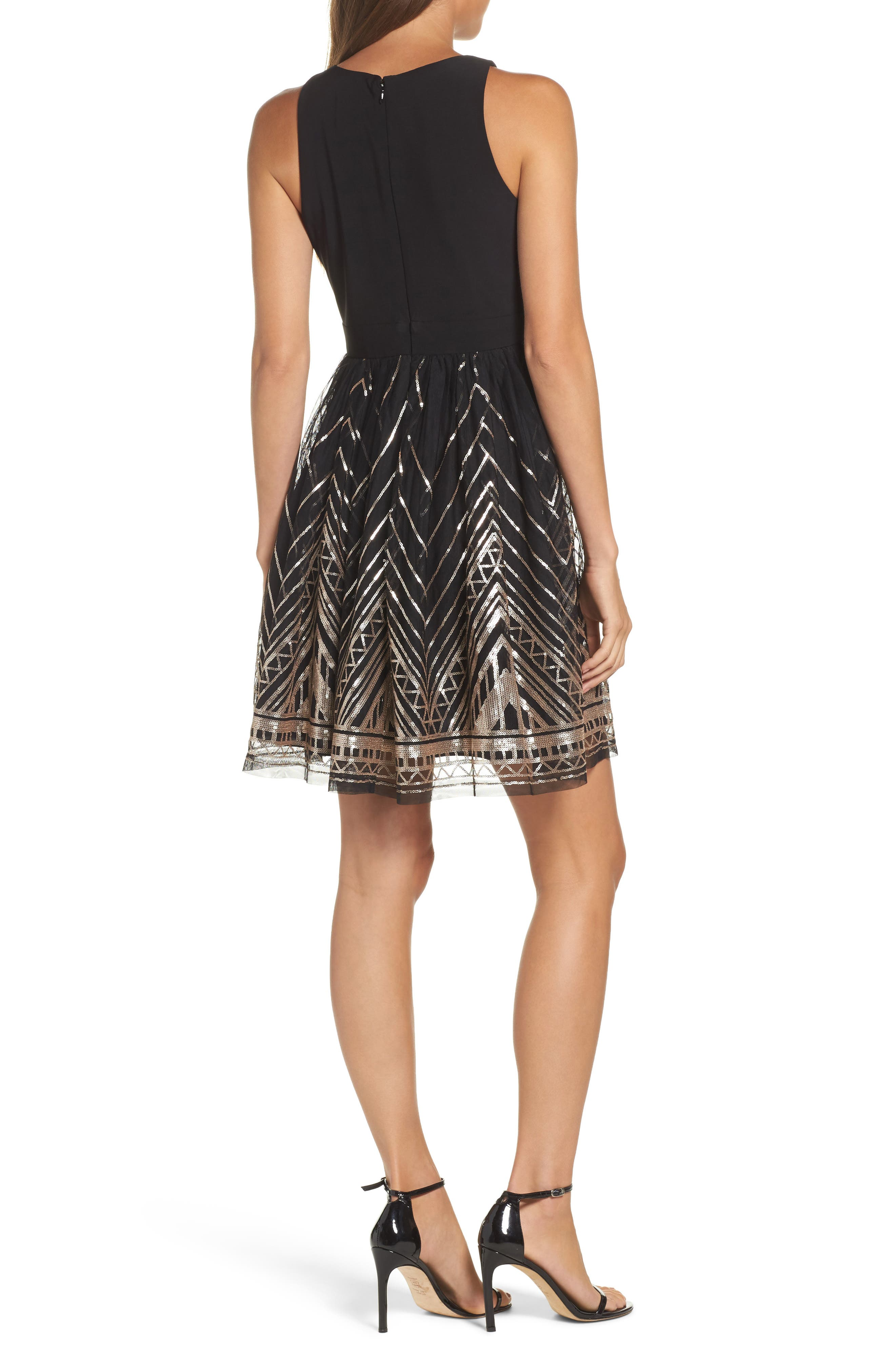 VINCE CAMUTO, Sequin Fit & Flare Cocktail Dress, Alternate thumbnail 2, color, BLACK/ GOLD
