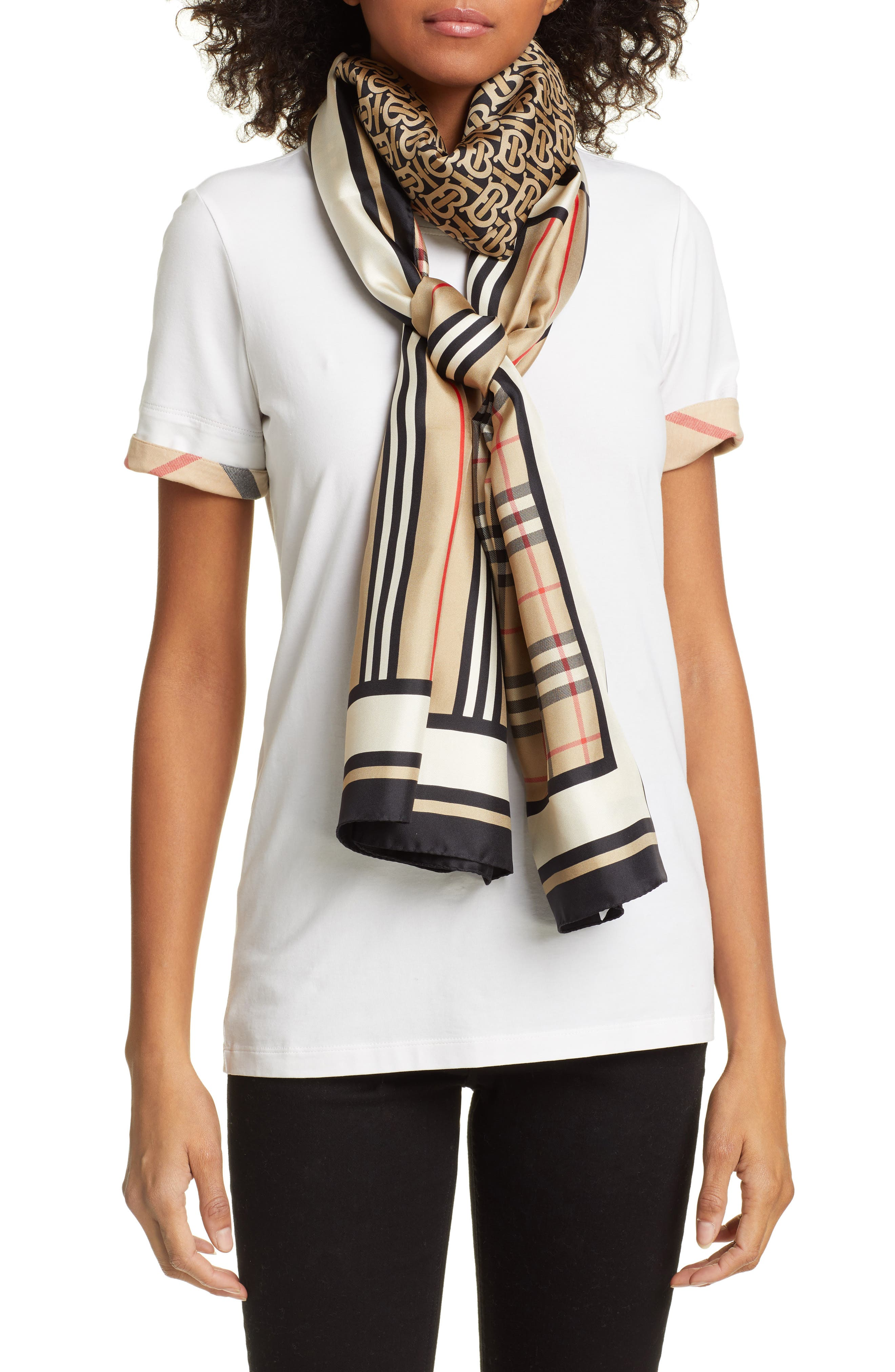 BURBERRY, Mixed Print Mulberry Silk Scarf, Main thumbnail 1, color, ARCHIVE BEIGE