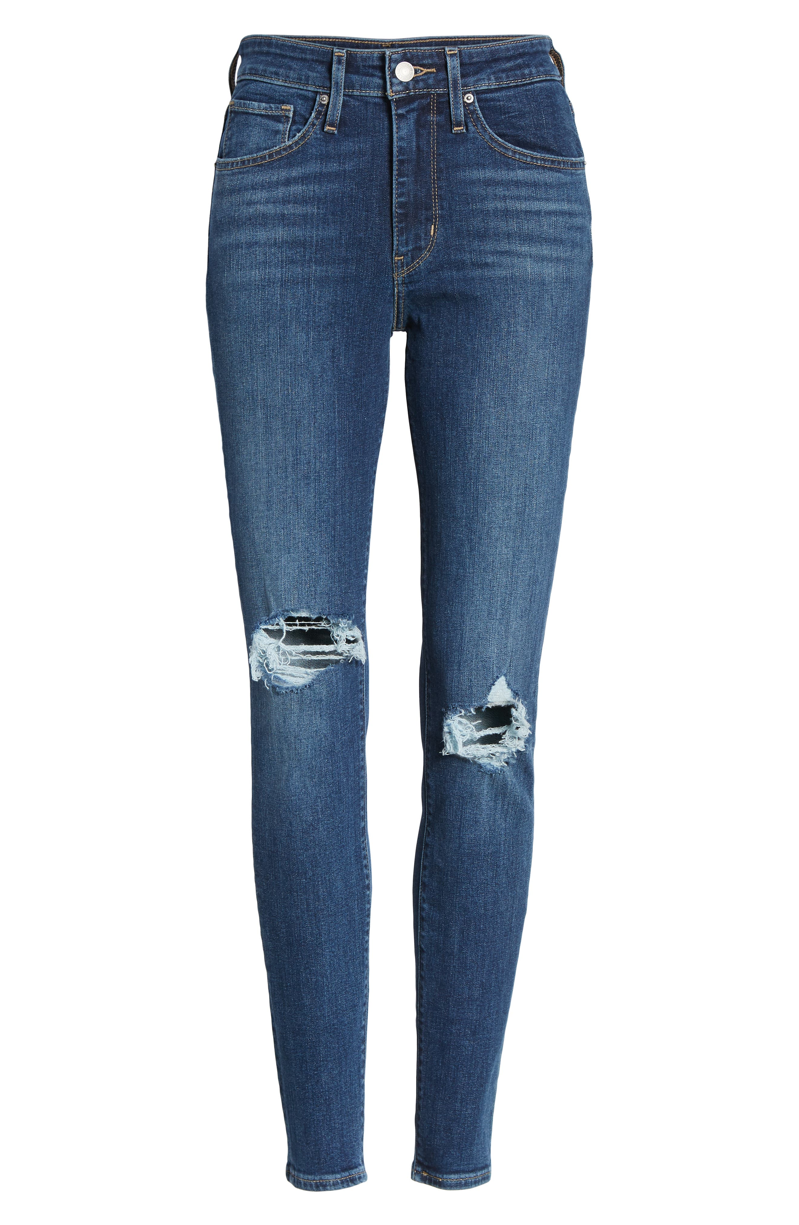 LEVI'S<SUP>®</SUP>, 721<sup>™</sup> Ripped High Waist Skinny Jeans, Alternate thumbnail 7, color, INDIGO LUNA