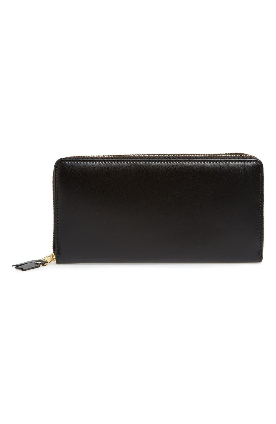 COMME DES GARÇONS, Leather Continental Long Wallet, Main thumbnail 1, color, BLACK