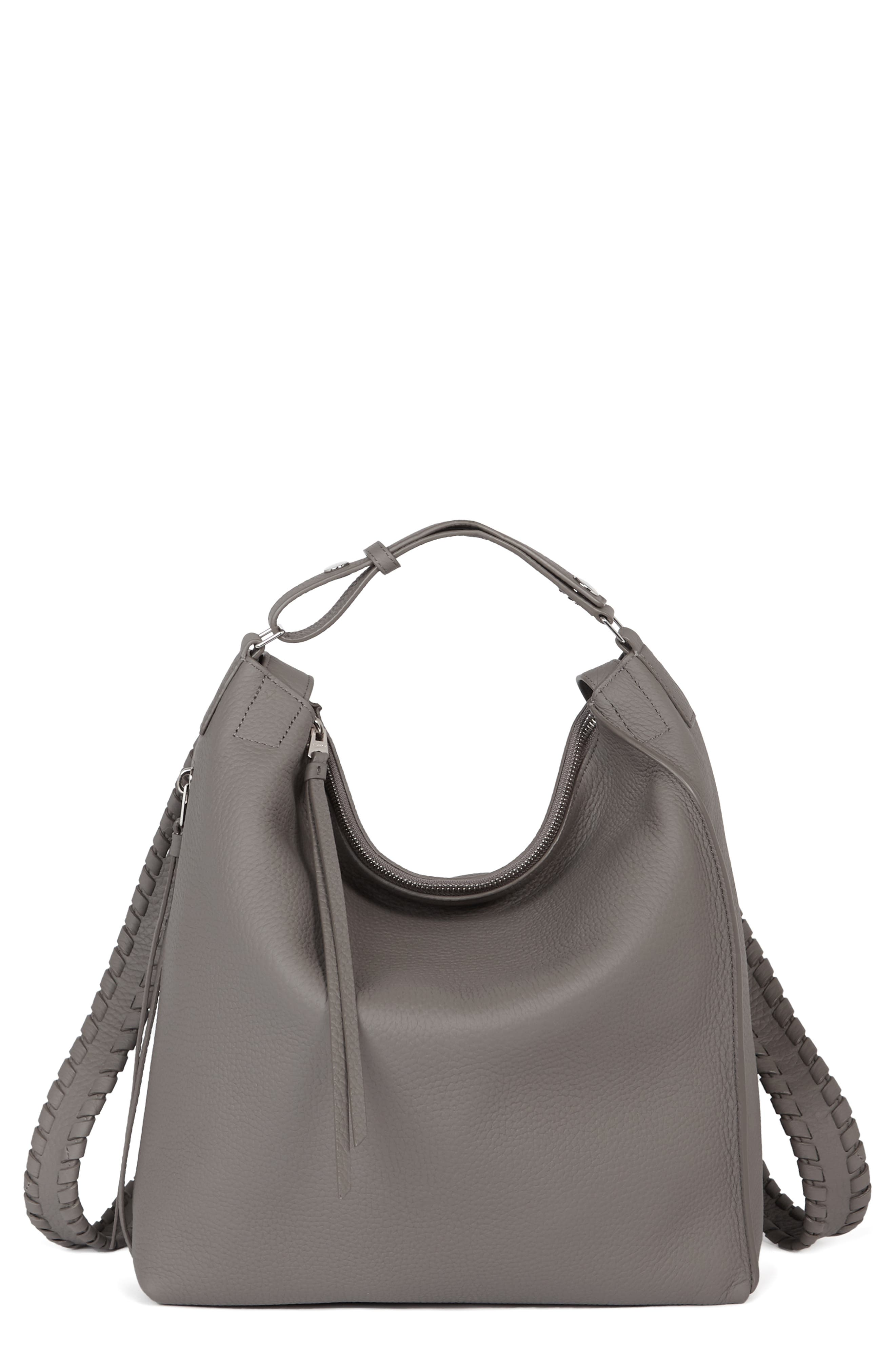 ALLSAINTS, Small Kita Convertible Leather Backpack, Main thumbnail 1, color, STORM GREY