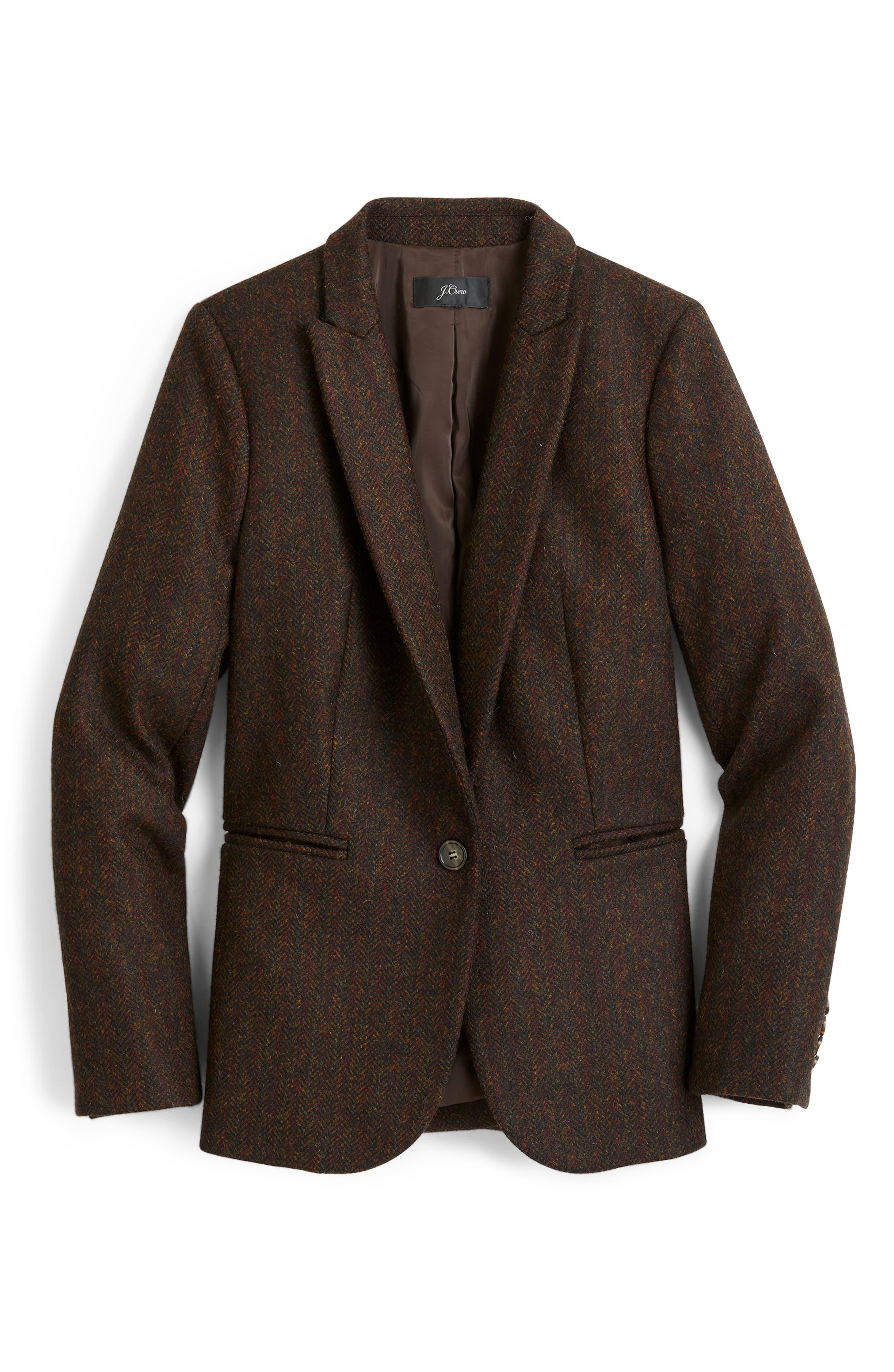 J.CREW, Parke Herringbone Wool Blazer, Alternate thumbnail 5, color, 009