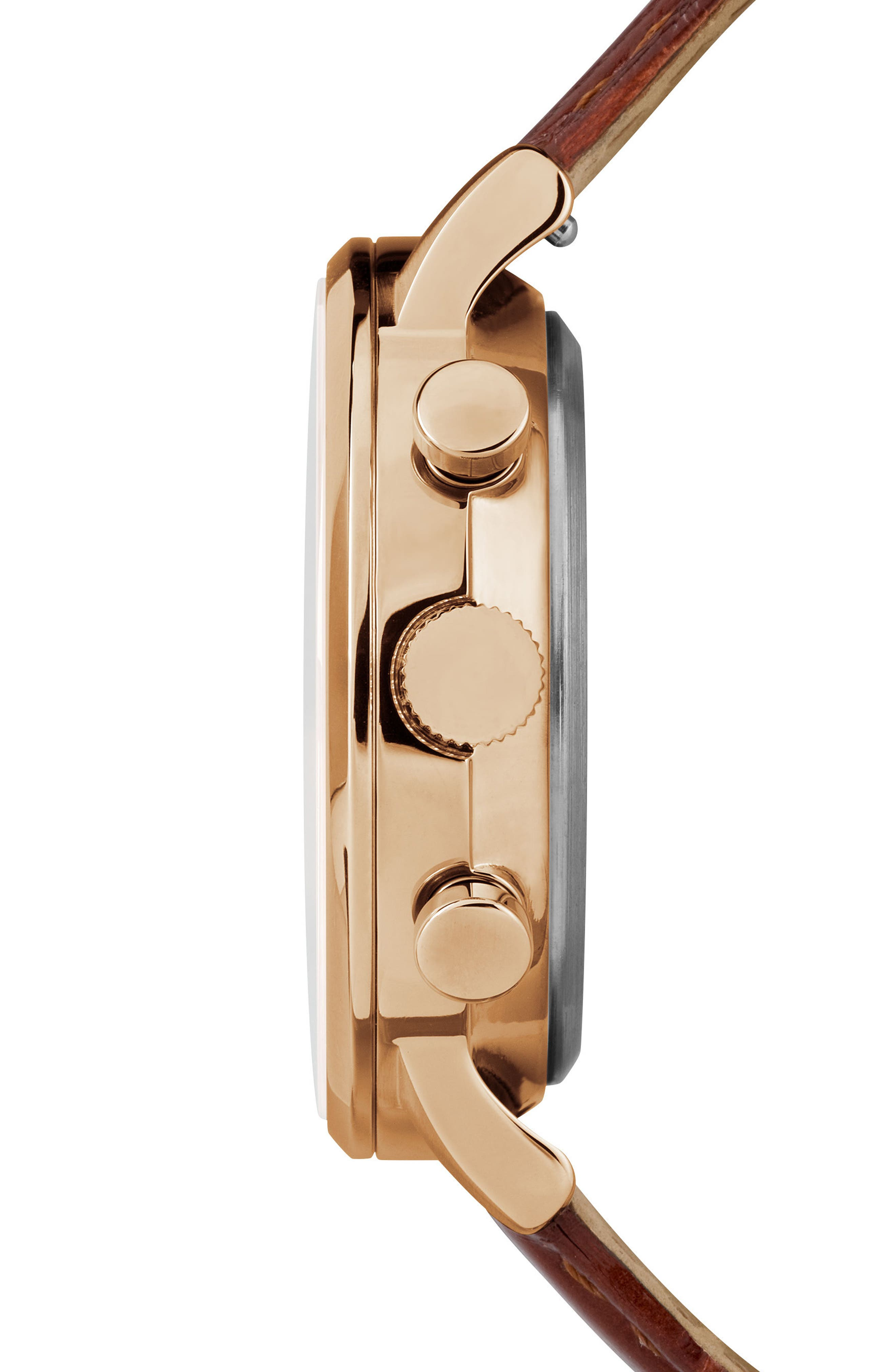 TIMEX<SUP>®</SUP>, Waterbury Chronograph Leather Strap Watch, 40mm, Alternate thumbnail 3, color, BROWN/ BLACK/ ROSE GOLD