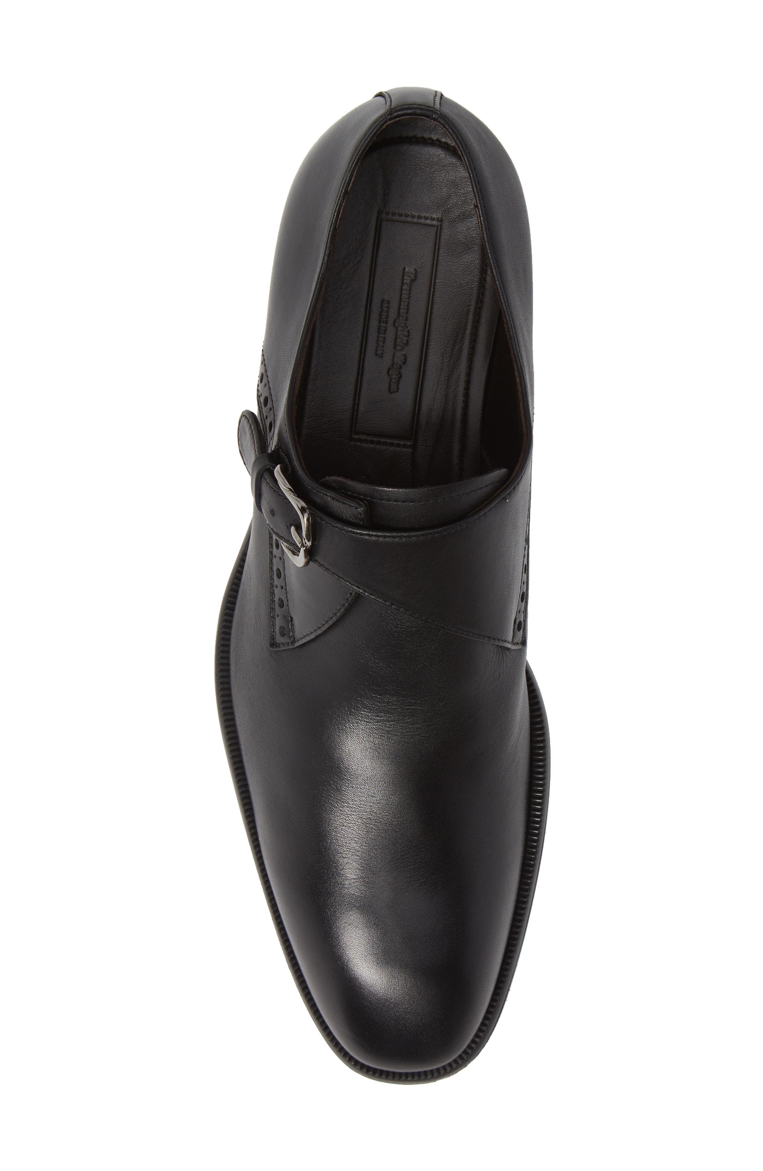 ERMENEGILDO ZEGNA, Single Strap Monk Shoe, Alternate thumbnail 5, color, BLACK