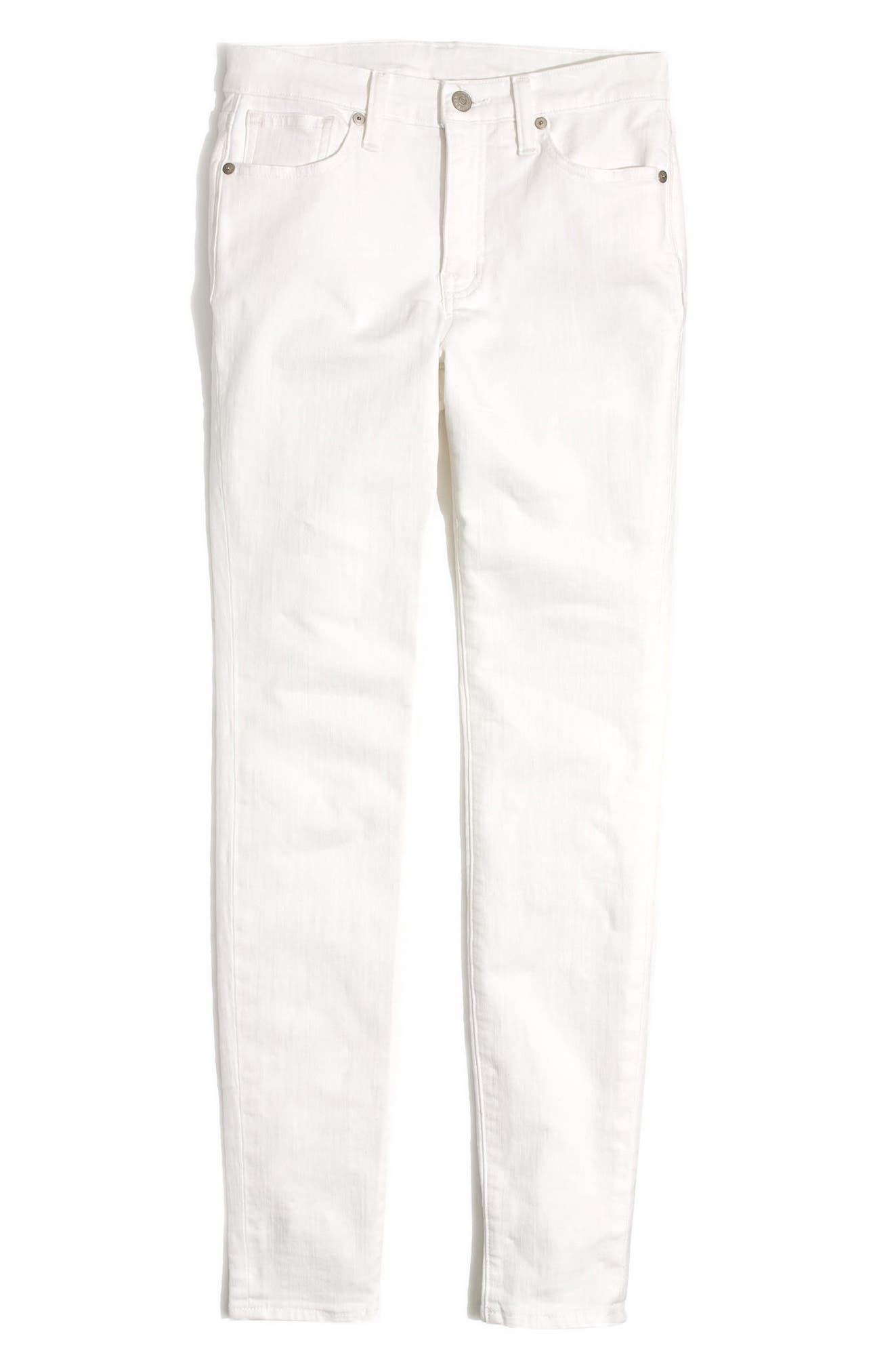 MADEWELL, 9-Inch High Waist Skinny Jeans, Alternate thumbnail 6, color, PURE WHITE