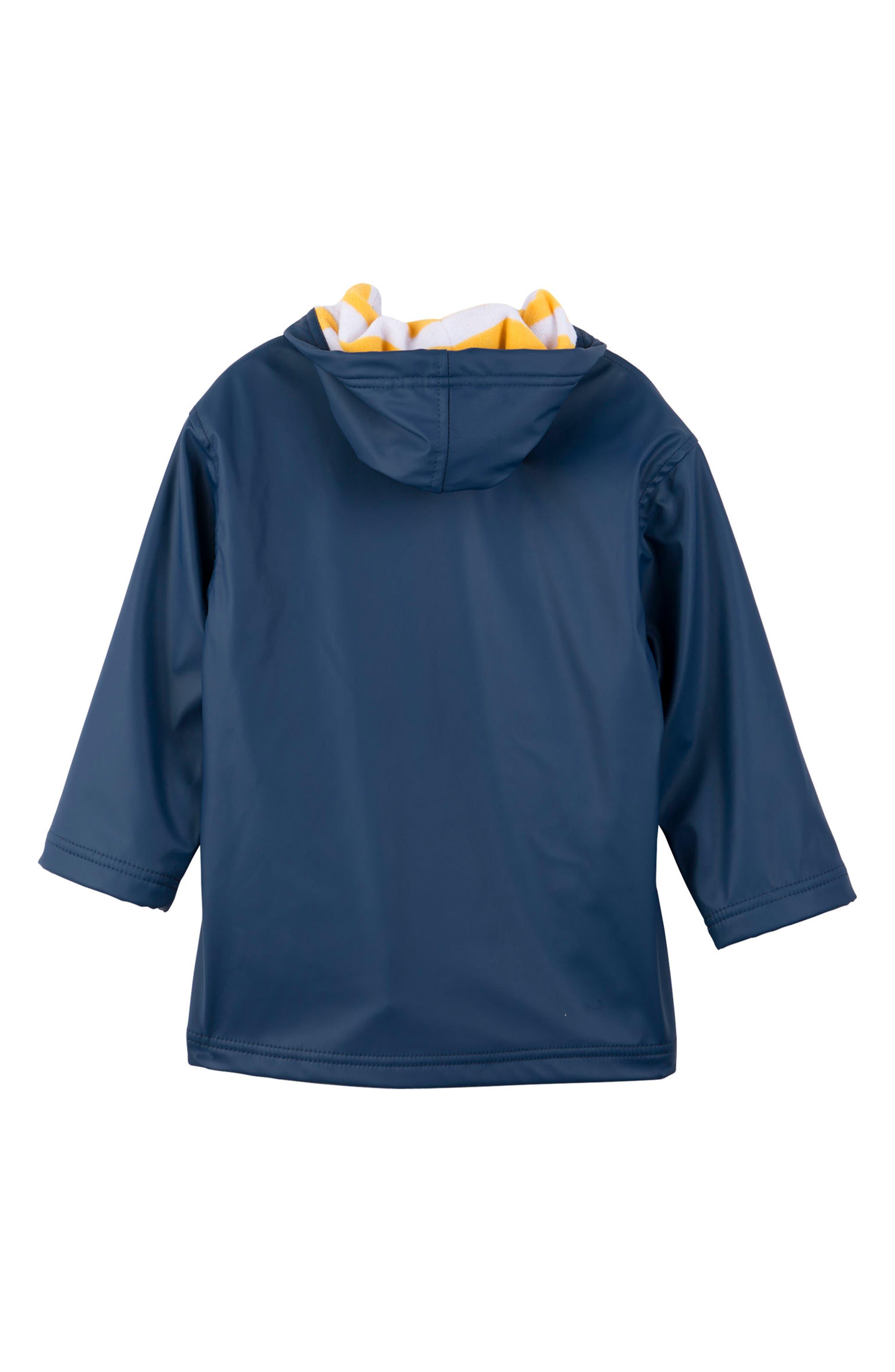 HATLEY, Splash Hooded Raincoat, Alternate thumbnail 2, color, NAVY/ YELLOW