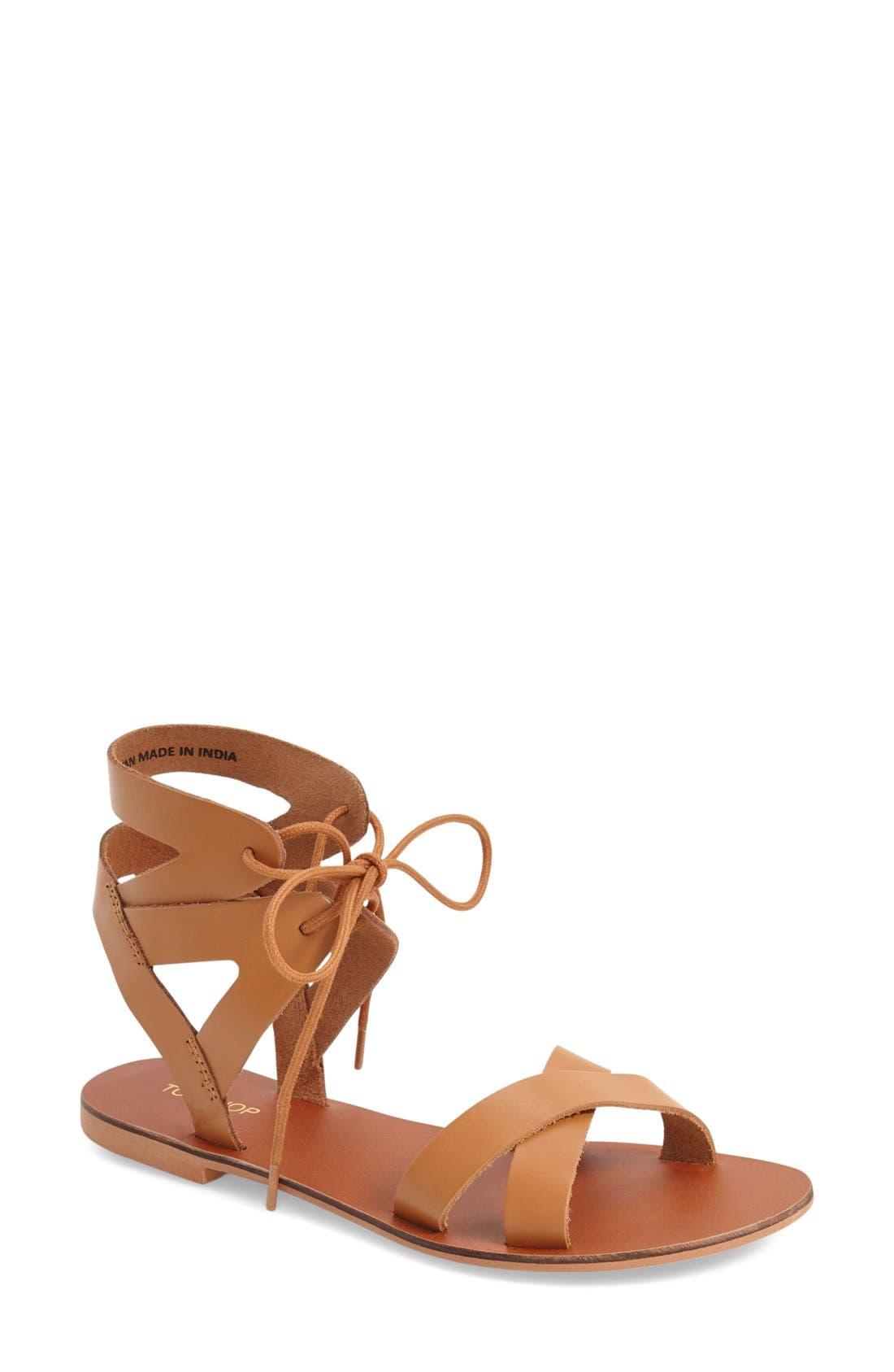 TOPSHOP 'Herb' Lace-Up Flat Sandal, Main, color, 210