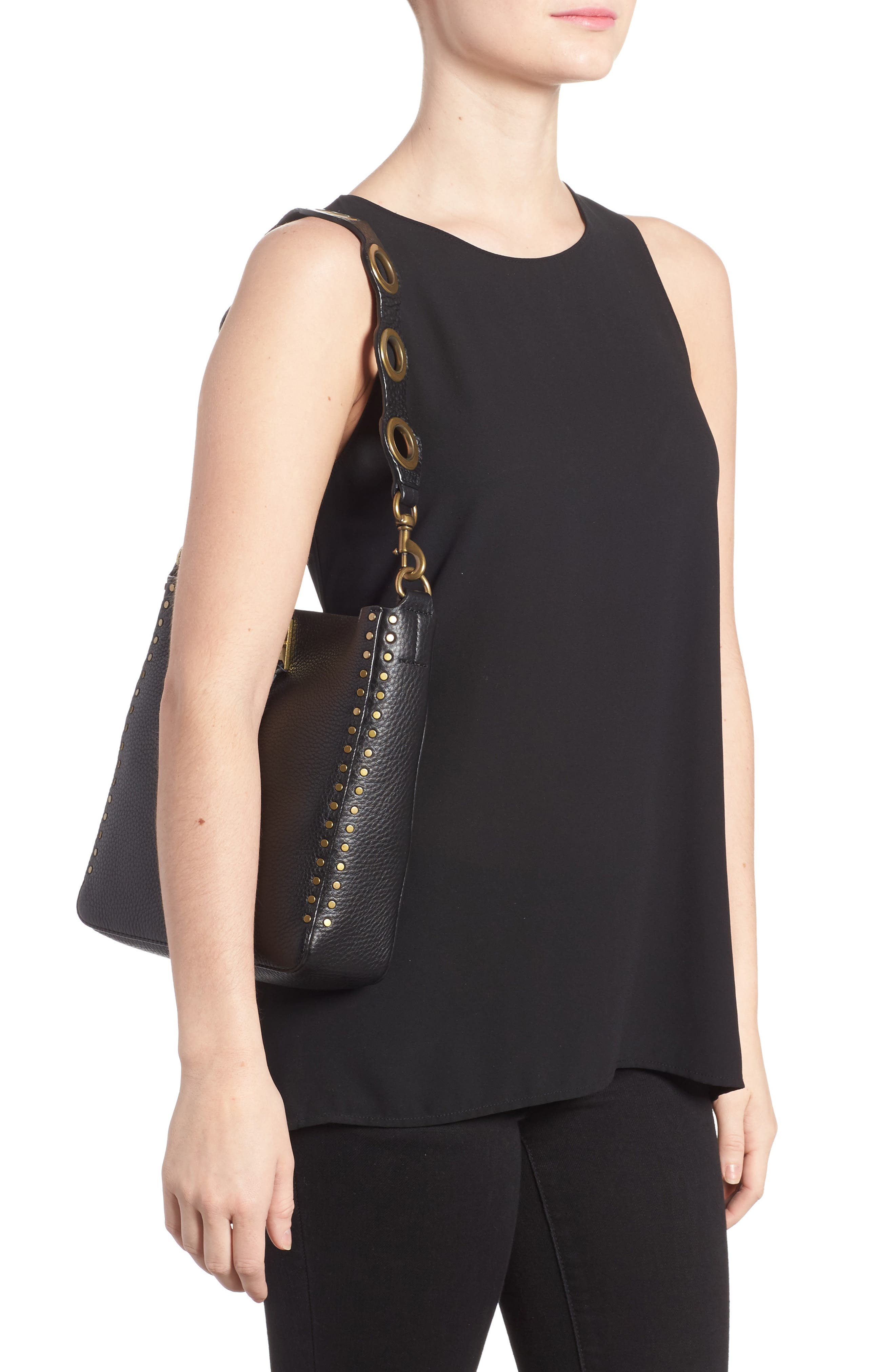 REBECCA MINKOFF, Small Darren Deerskin Leather Feed Bag, Alternate thumbnail 2, color, BLACK