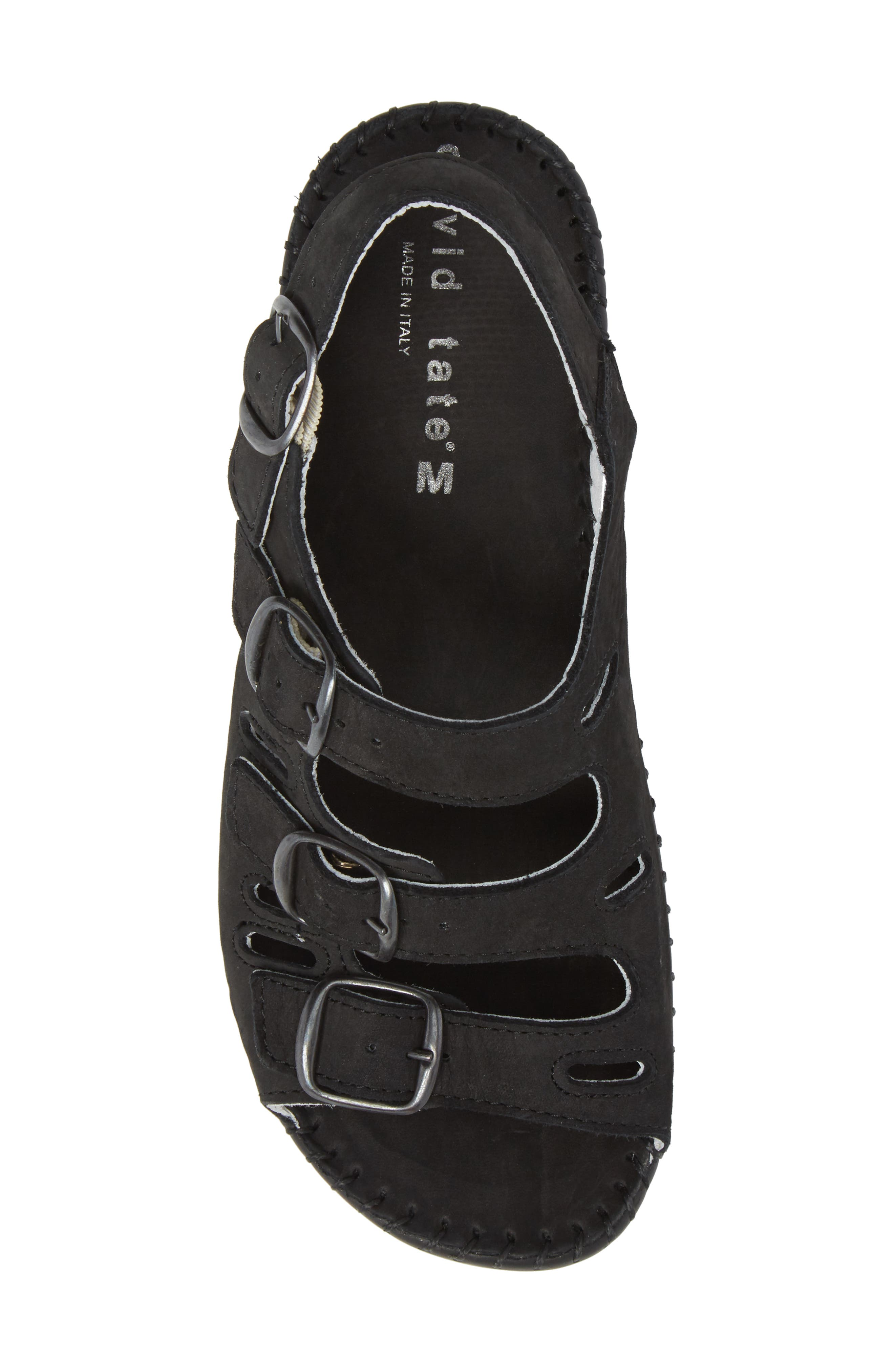 DAVID TATE, Luna Slingback Wedge Sandal, Alternate thumbnail 5, color, BLACK NUBUCK