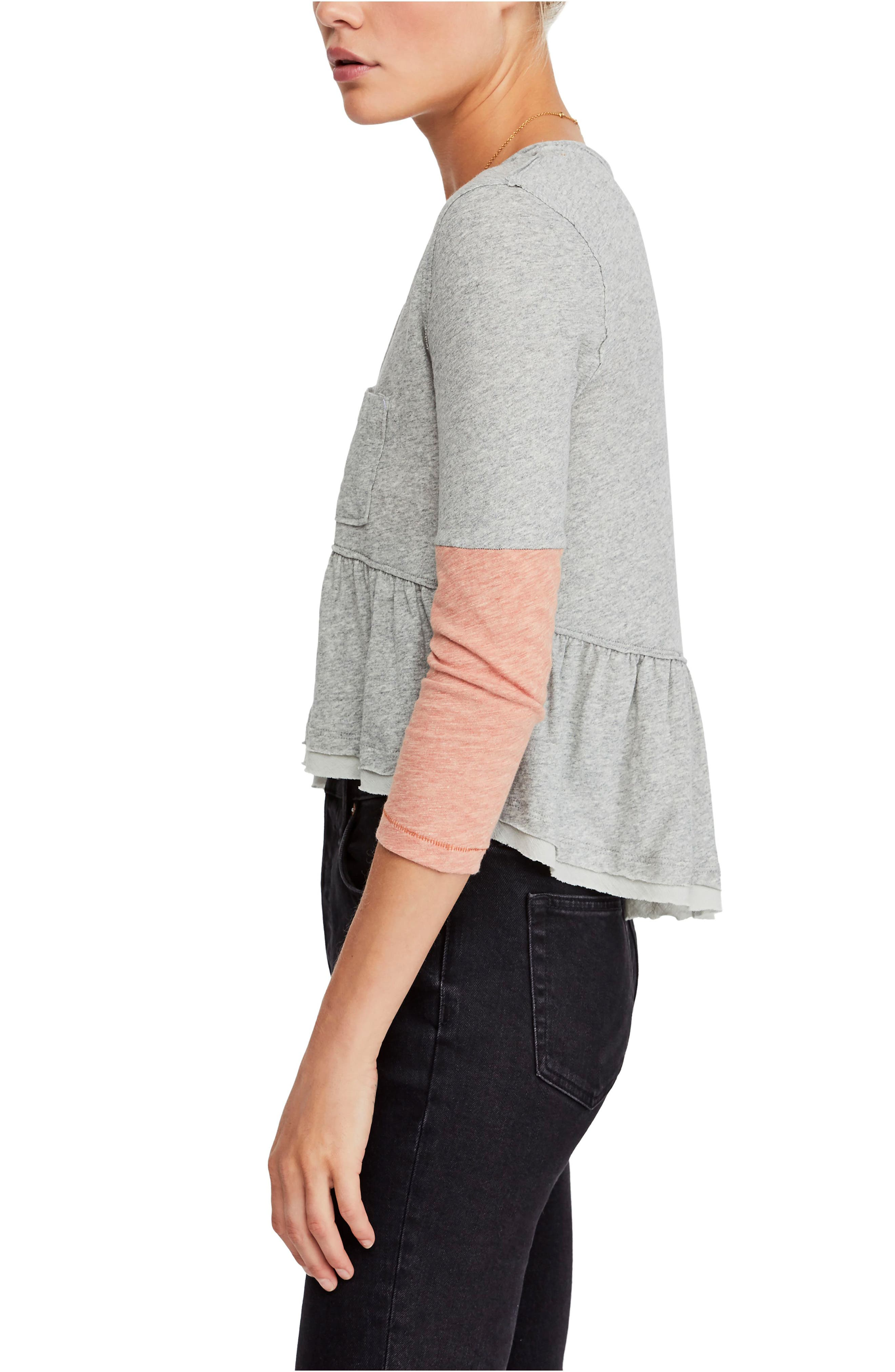 FREE PEOPLE, Heart of Mine Colorblock Cotton Top, Alternate thumbnail 3, color, 030