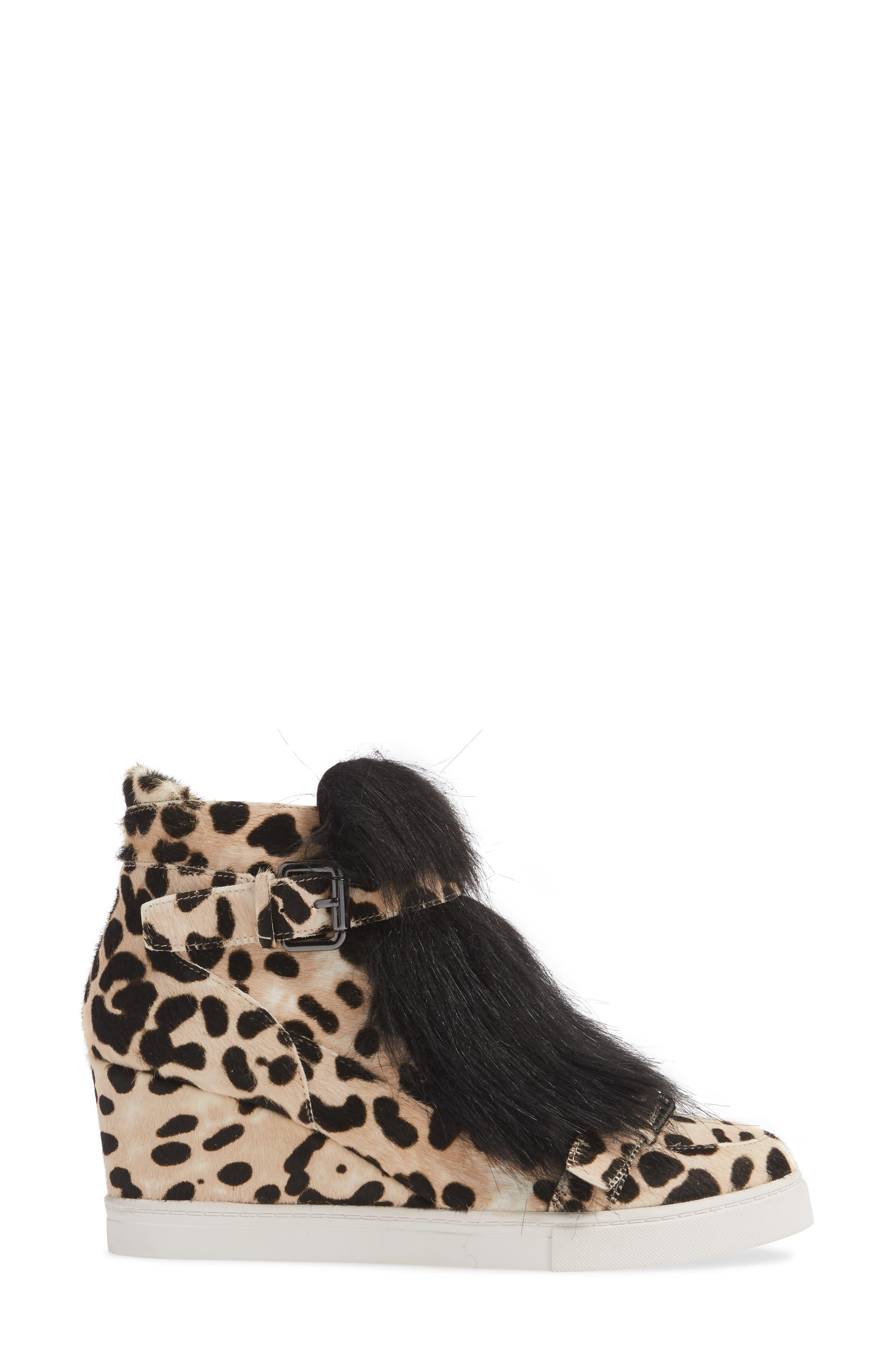 LINEA PAOLO, Fifi 2 Wedge Sneaker, Alternate thumbnail 3, color, WHITE/ BLACK LEOPARD HAIRCALF