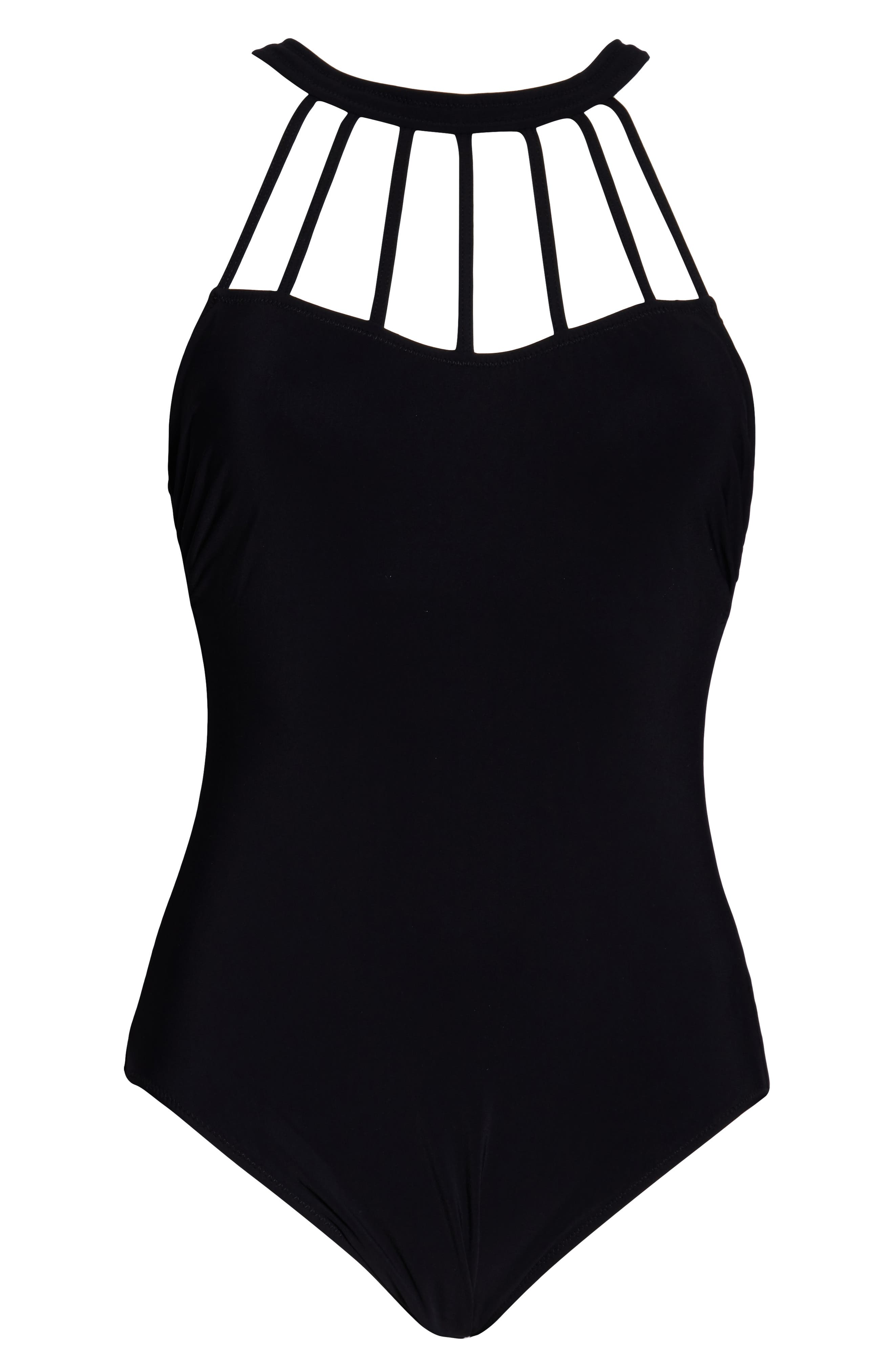 PROFILE BY GOTTEX, High Neck One-Piece Swimsuit, Alternate thumbnail 3, color, BLACK