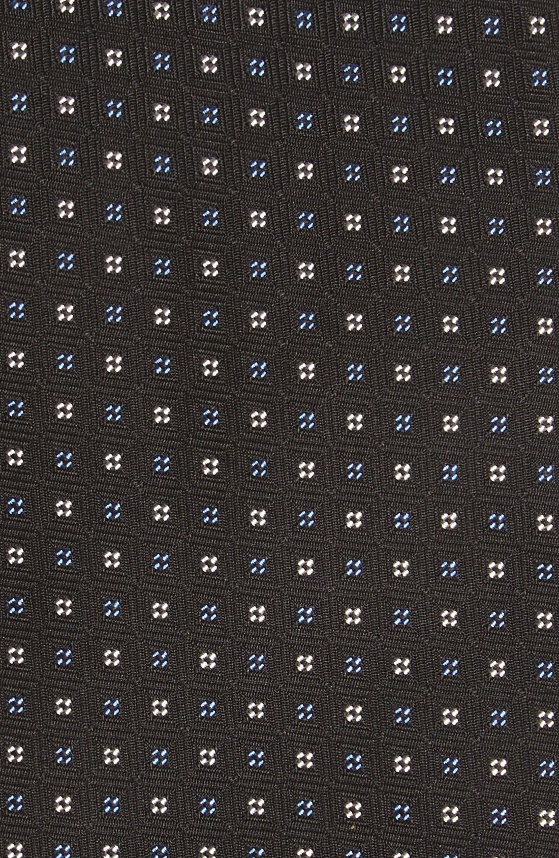 GITMAN, Geometric Silk Tie, Alternate thumbnail 2, color, BLACK