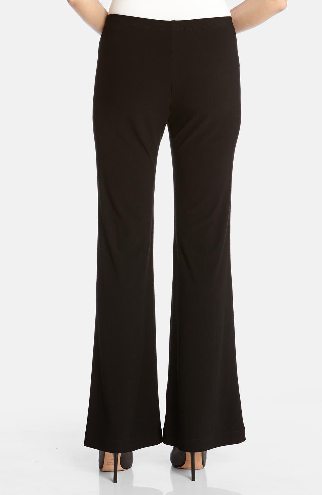 KAREN KANE, Wide Leg Crepe Pants, Alternate thumbnail 4, color, BLACK