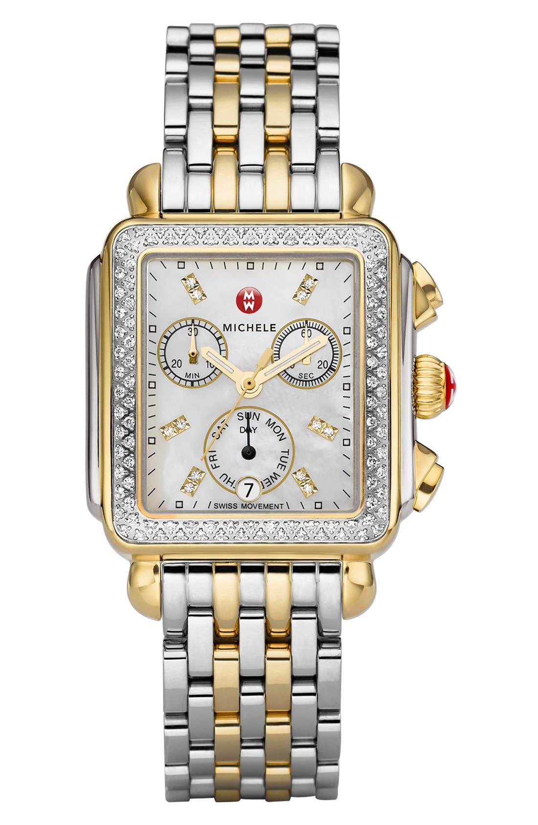 MICHELE, Deco Diamond Diamond Dial Two-Tone Watch Case, 33mm x 35mm, Alternate thumbnail 4, color, SILVER/ GOLD