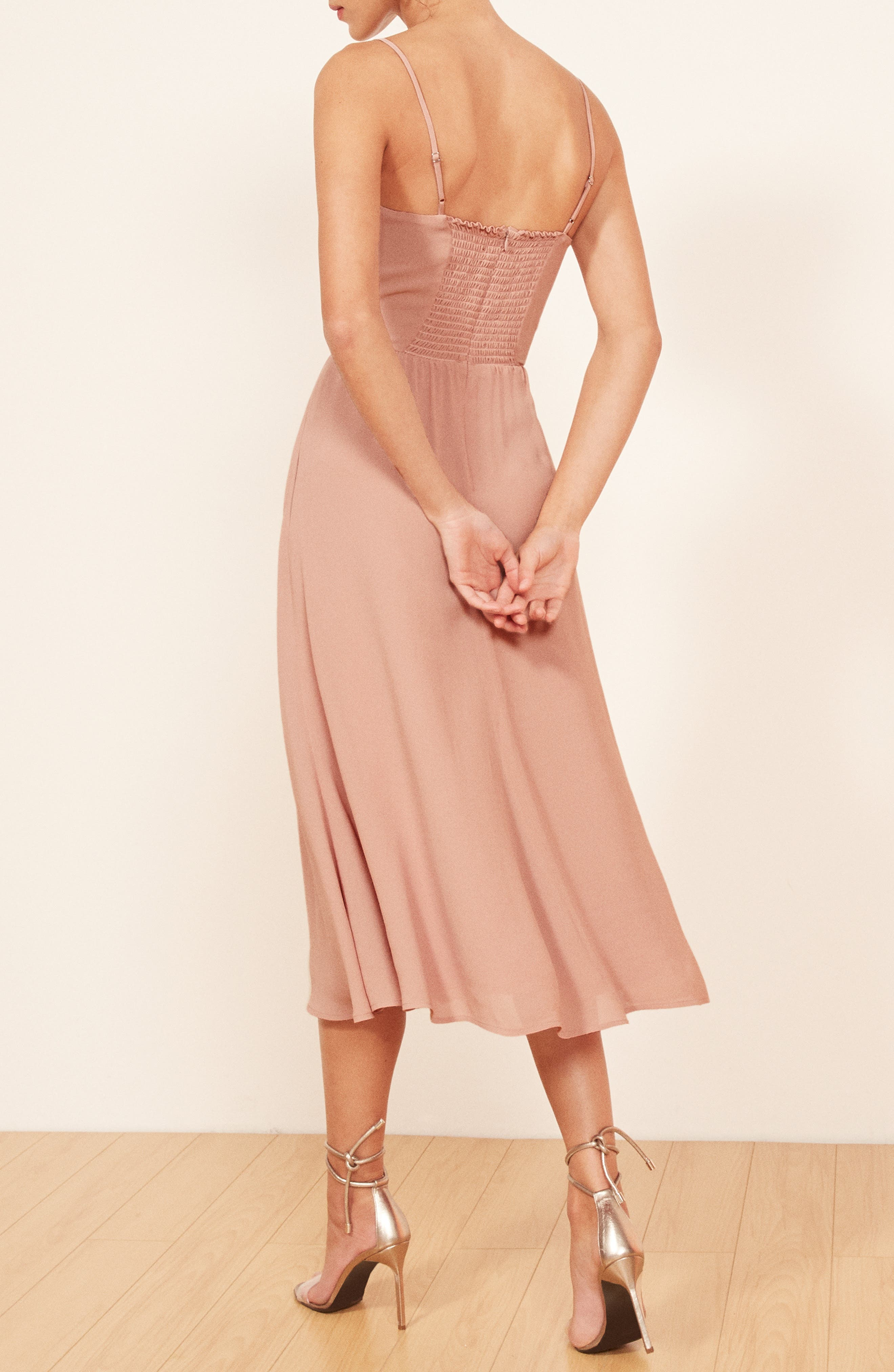 REFORMATION, Rosehip Fit & Flare Dress, Alternate thumbnail 4, color, BLUSH