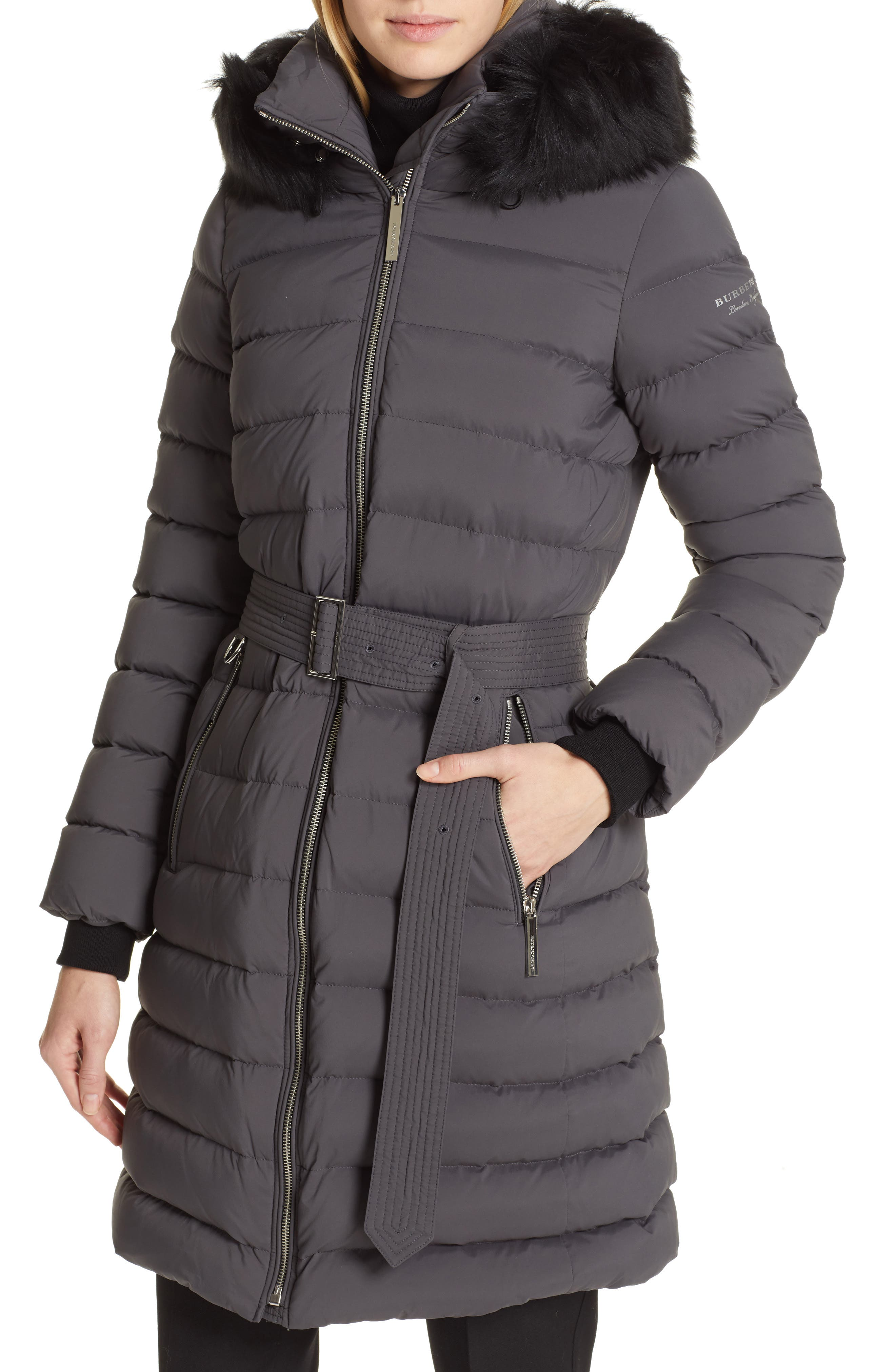 BURBERRY, Limehouse Quilted Down Puffer Coat with Removable Genuine Shearling Trim, Alternate thumbnail 6, color, MID GREY