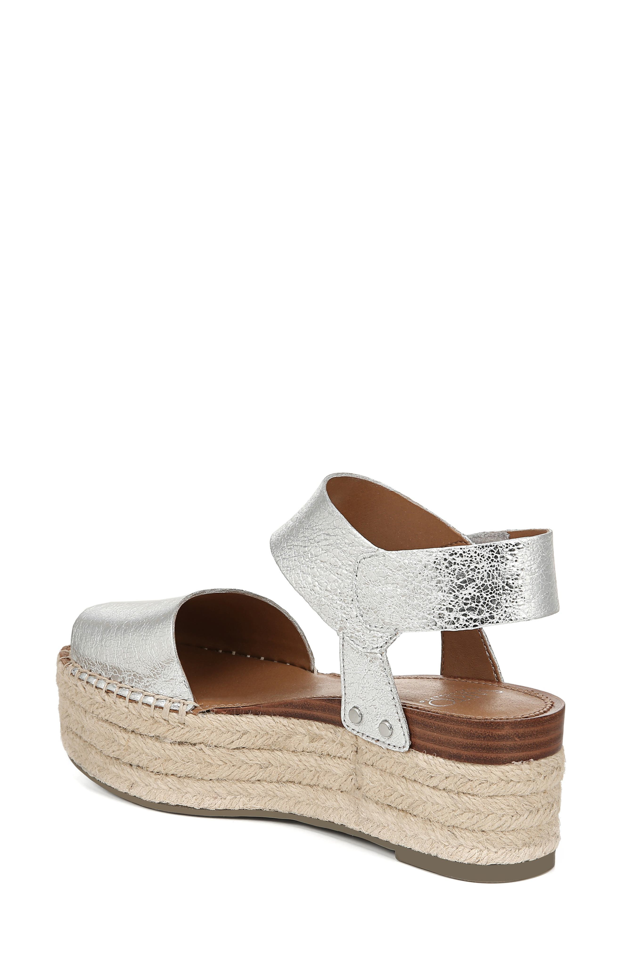 SARTO BY FRANCO SARTO, Leo Platform Espadrille Sandal, Alternate thumbnail 2, color, SILVER LEATHER