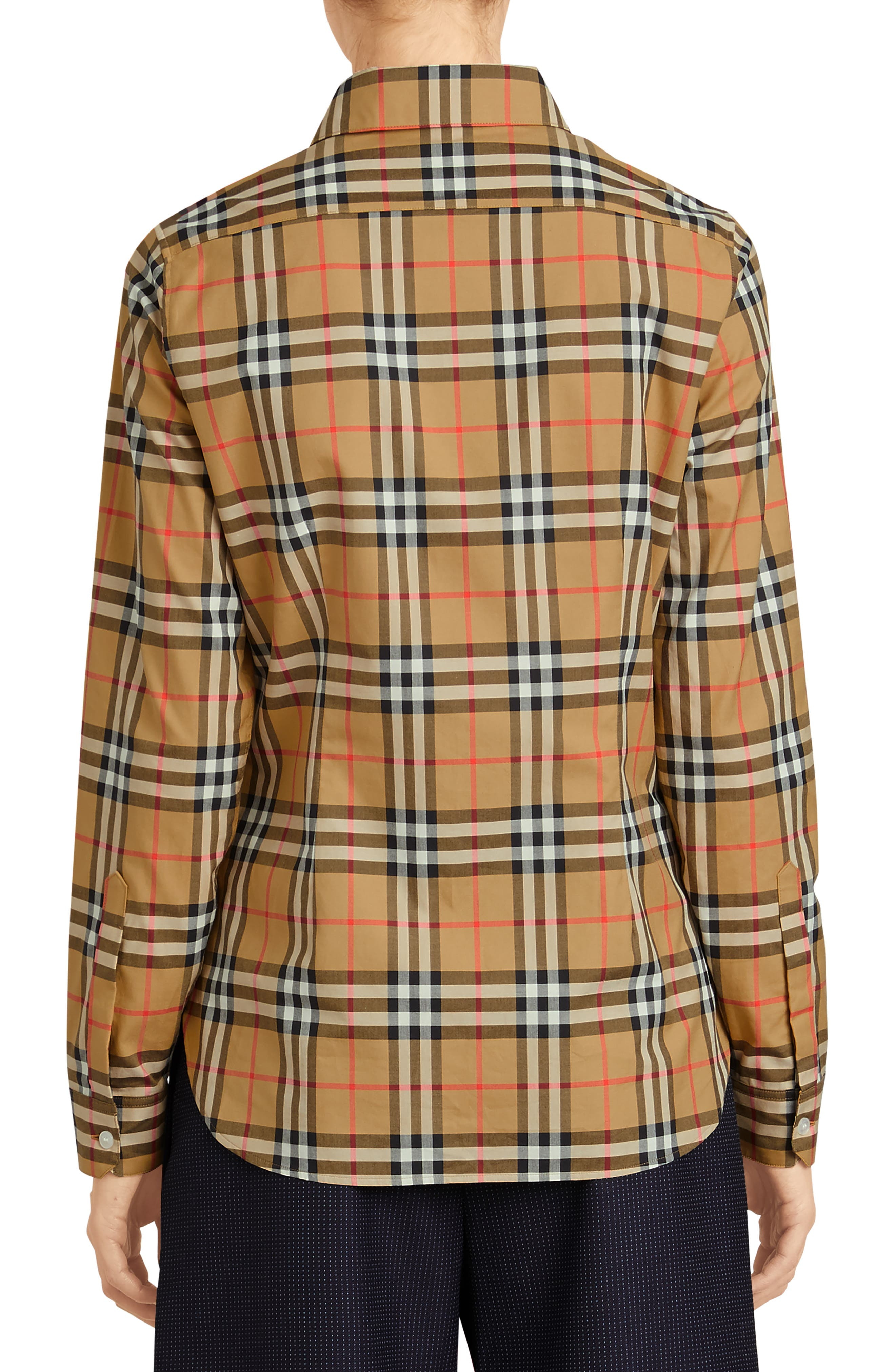 BURBERRY, Crow Vintage Check Shirt, Alternate thumbnail 2, color, ANTIQUE YELLOW CHECK
