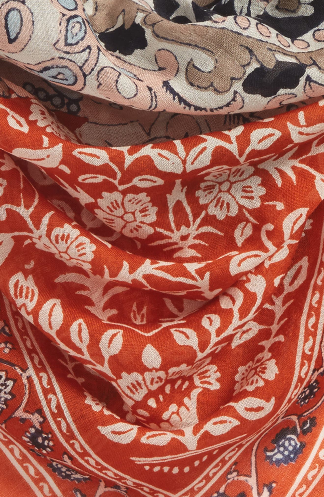 MADEWELL, Greta Paisley Square Scarf, Alternate thumbnail 4, color, RUSTY TORCH MULTI
