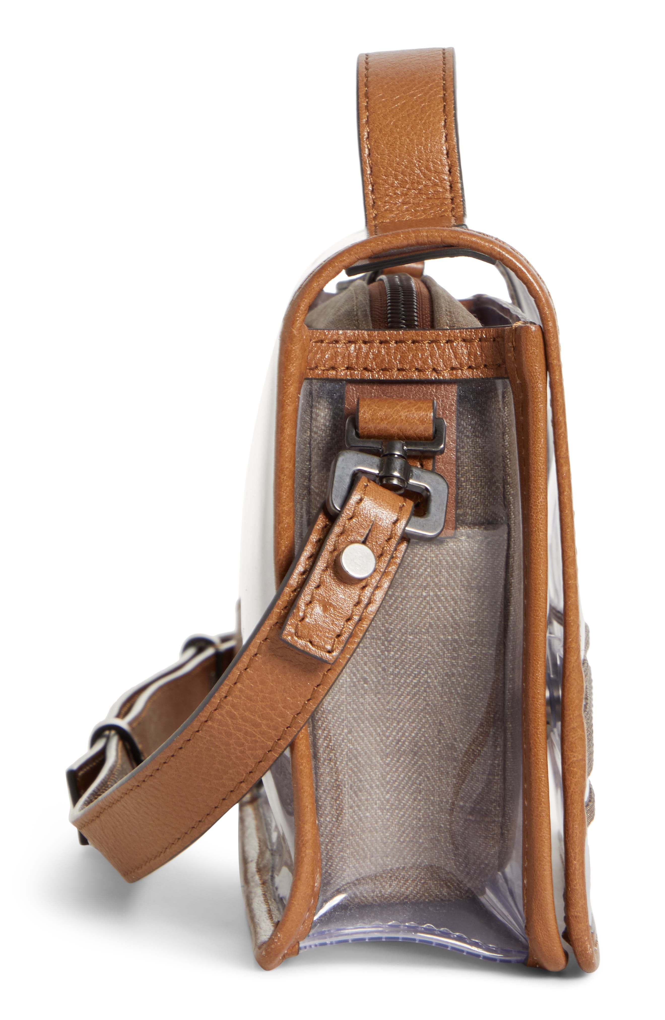 BRUNELLO CUCINELLI, Monili & Leather Trim Clear Shoulder Bag, Alternate thumbnail 5, color, LT BROWN