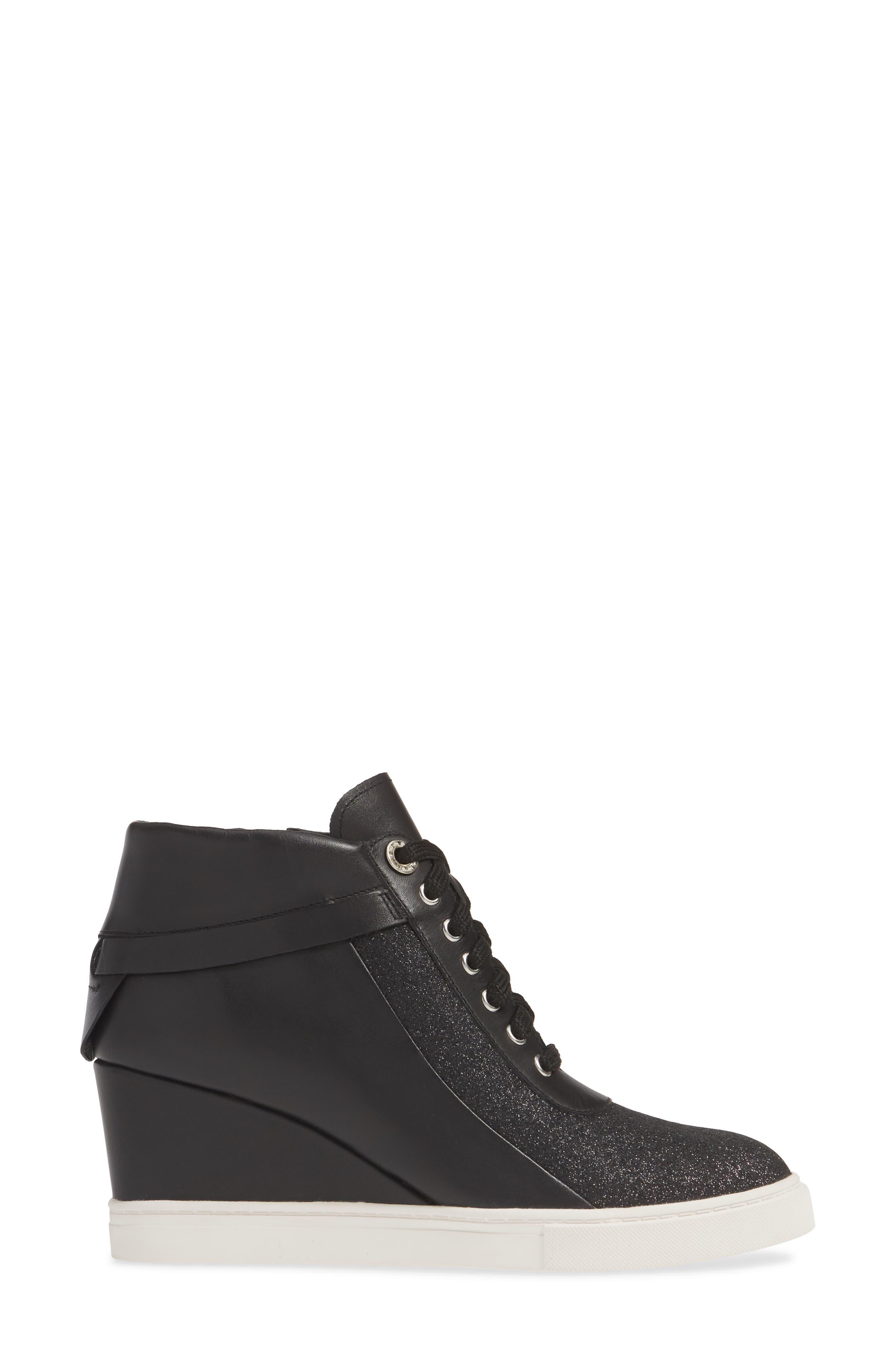 LINEA PAOLO, Freja Wedge Sneaker, Alternate thumbnail 3, color, BLACK GLISTEN LEATHER