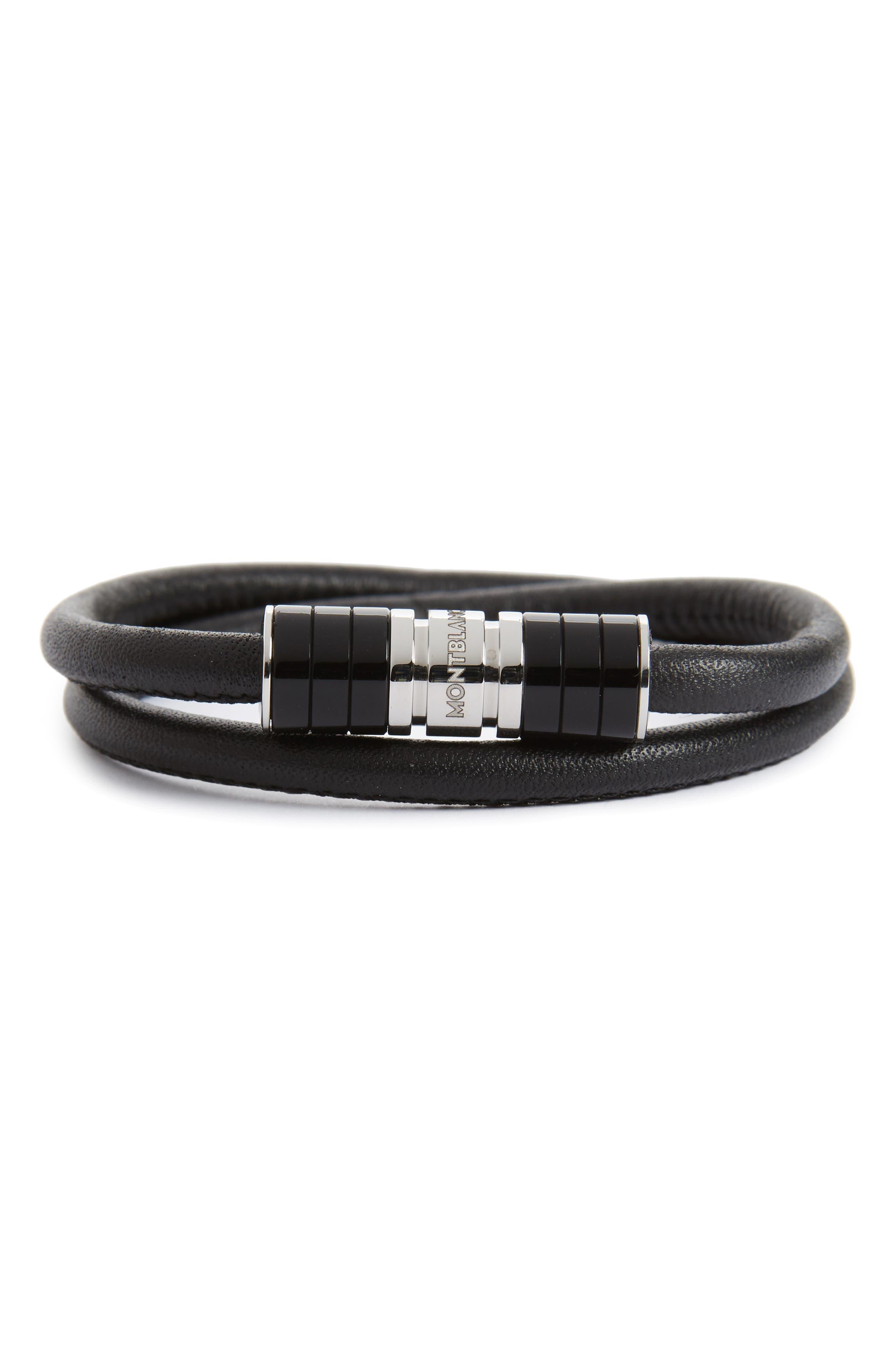 MONTBLANC Leather Bracelet, Main, color, BLACK