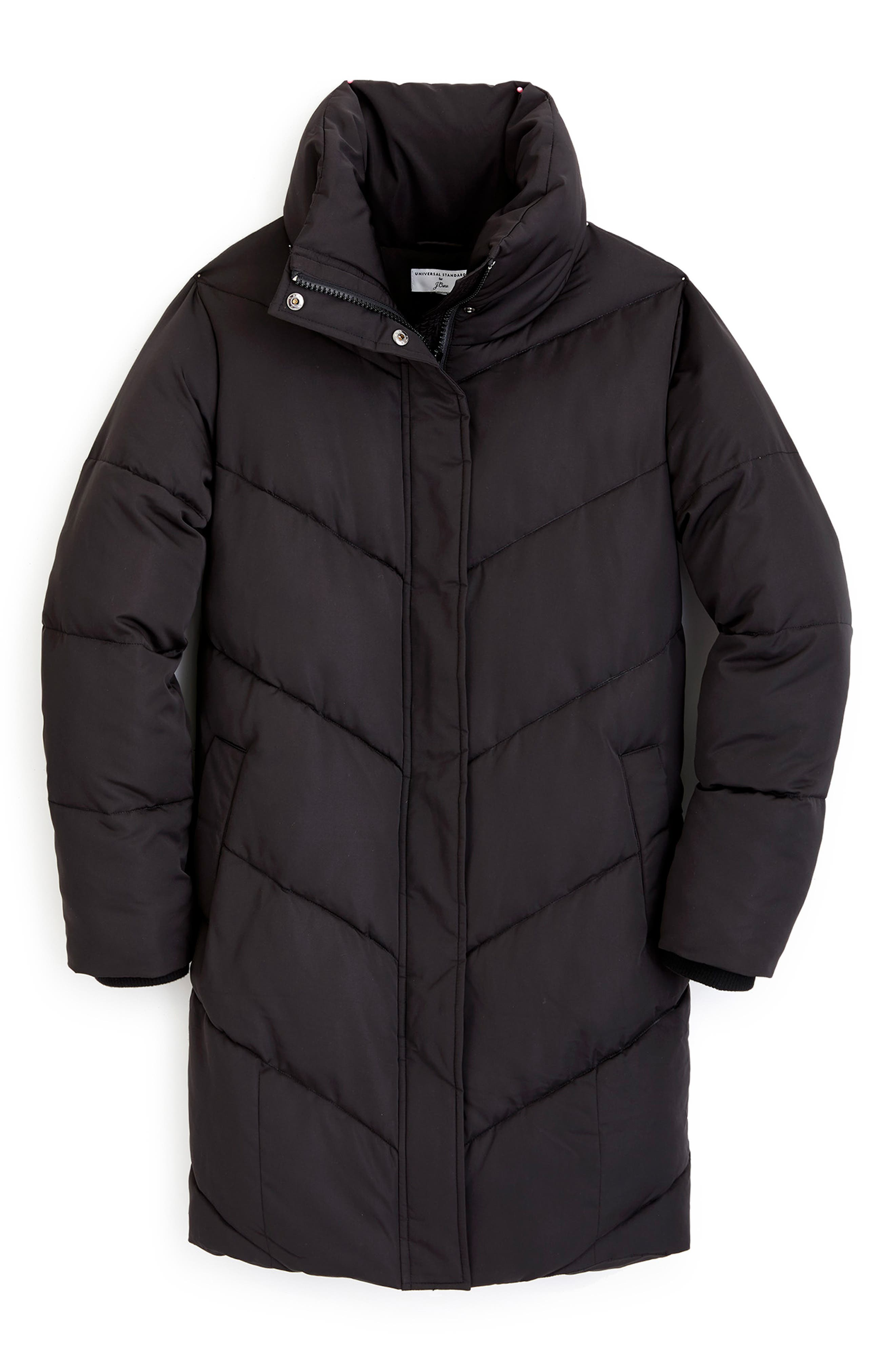 UNIVERSAL STANDARD, for J.Crew Chevron Long Puffer Coat, Alternate thumbnail 6, color, BLACK